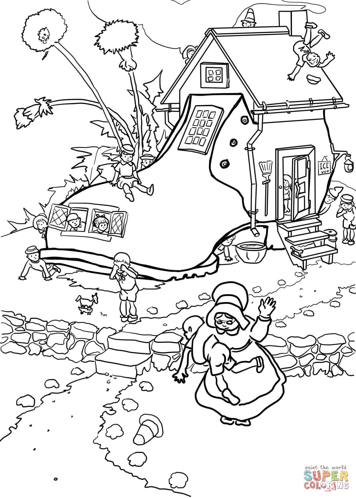 Little Old Woman Who Lived In A Shoe Coloring Page