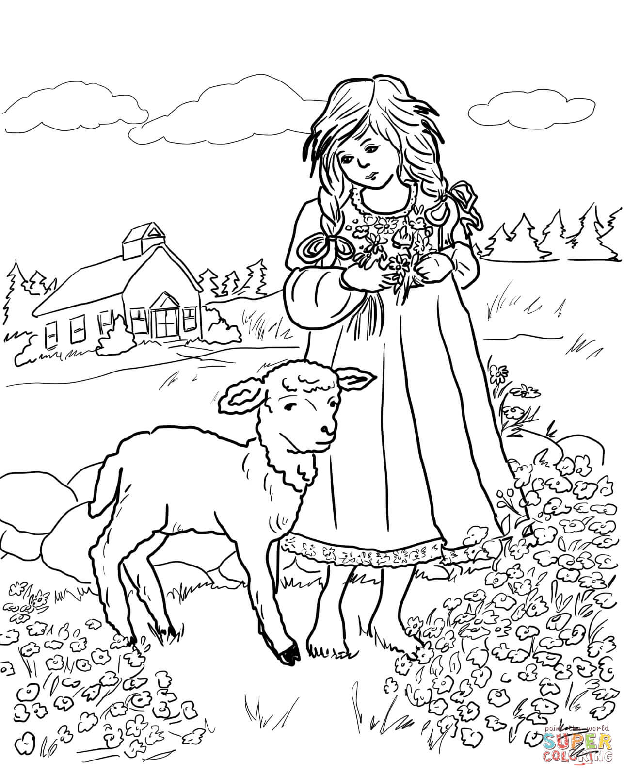 Mary With A Little Lamb Coloring Page
