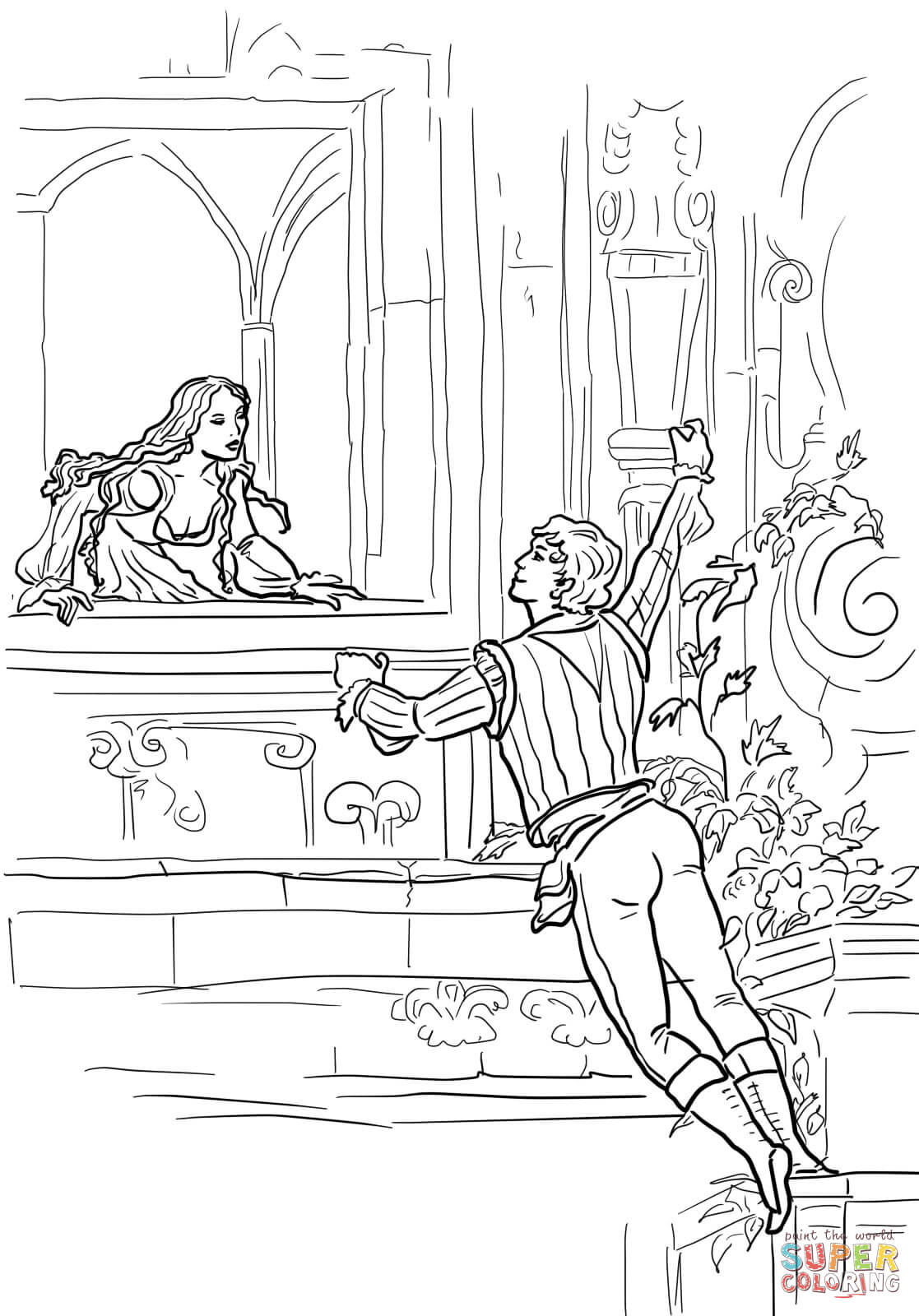 Romeo And Juliet Balcony Scene Coloring Page