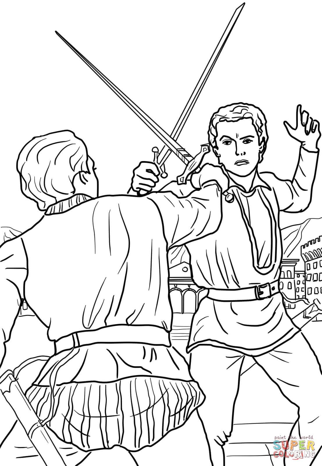 Dibujo de Romeo y Julieta, escena del duelo para colorear