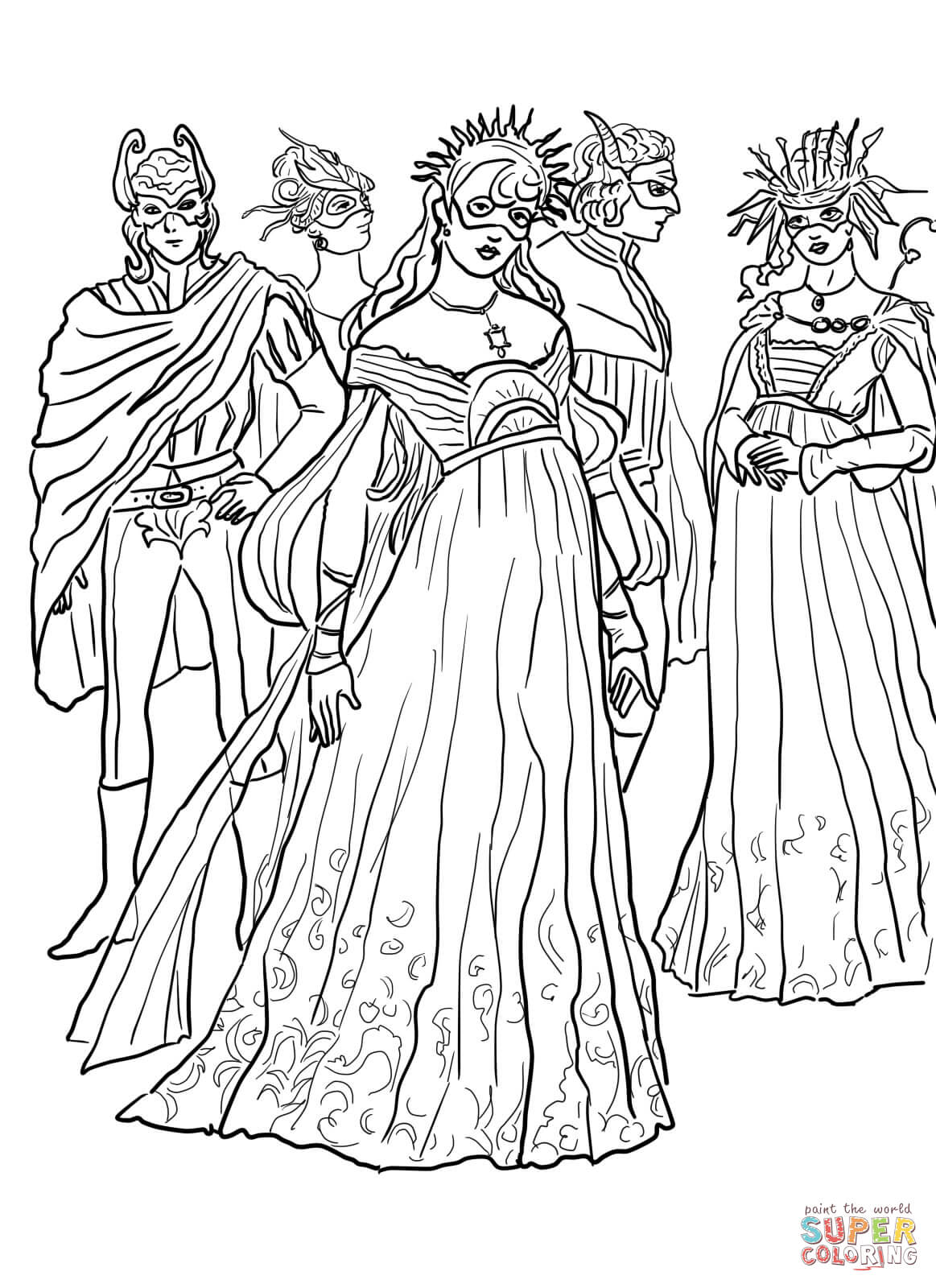 Dibujo de Romeo y Julieta, Baile de Máscaras para colorear