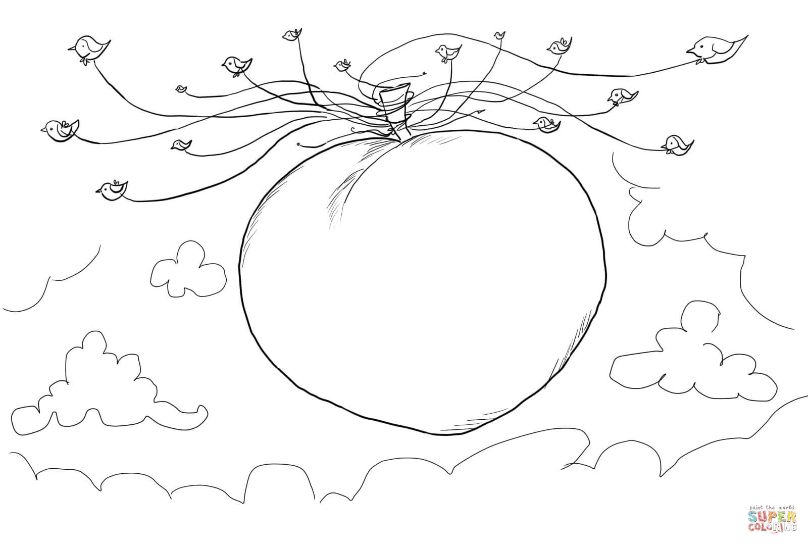 Seagulls Carrying James And The Giant Peach Coloring Page