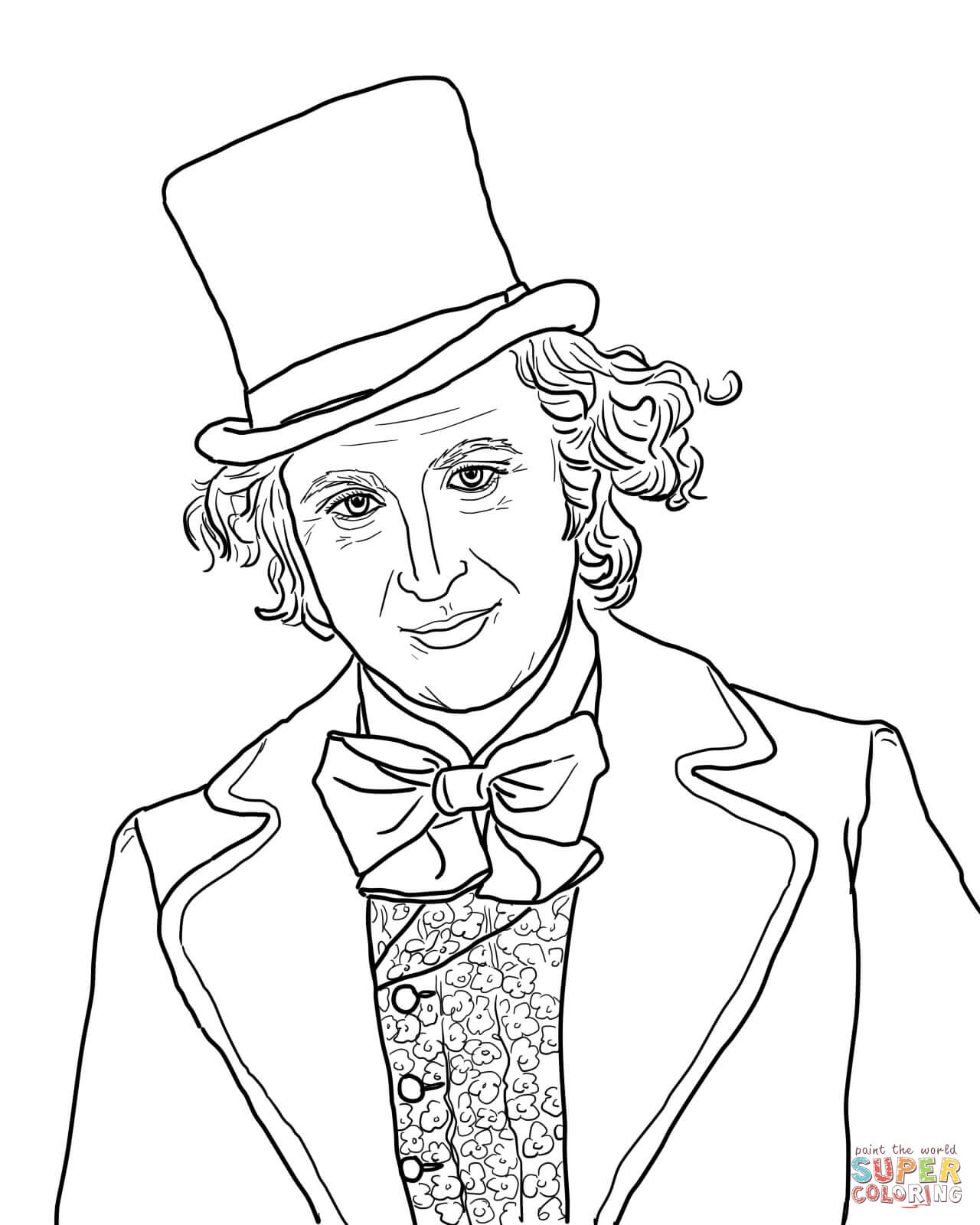 Willy Wonka With Gene Wilder Coloring Page