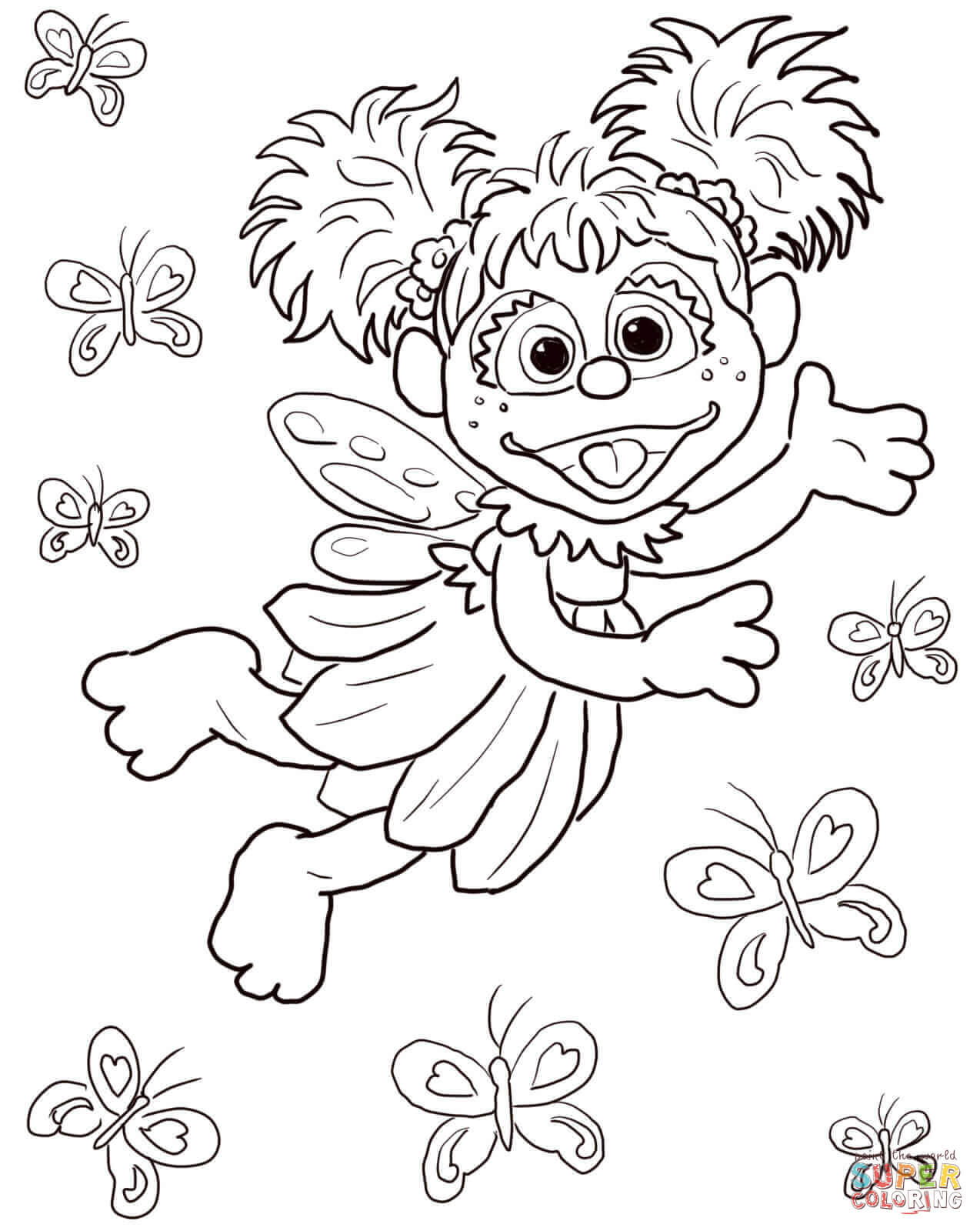 Abby Cadabby Flying With Butterflies Coloring Page