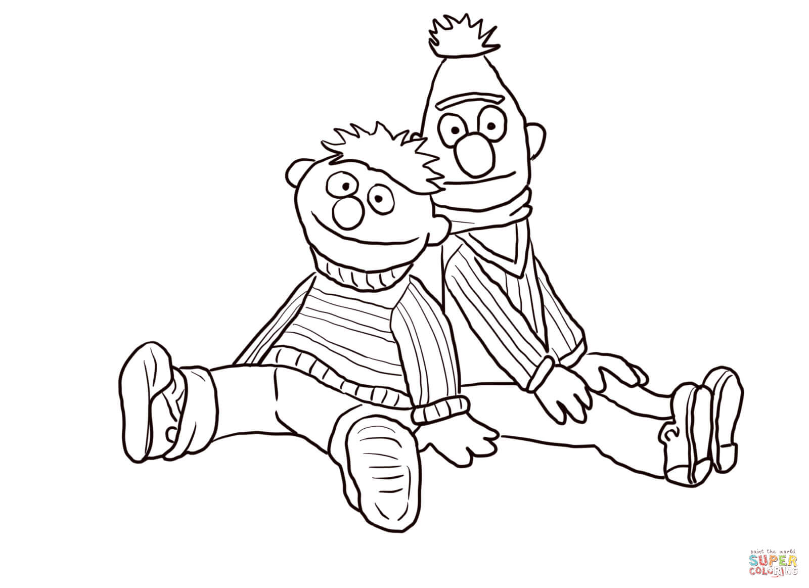Bert And Ernie Sitting And Leaning Coloring Page