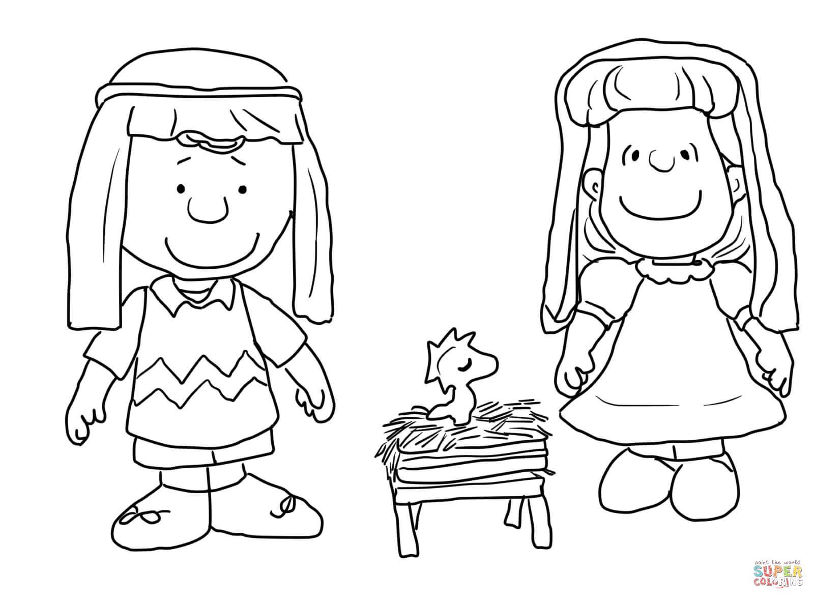 Charlie Brown Christmas Nativity Coloring Page Free Printable