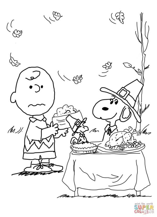Charlie Brown Thanksgiving Coloring Page Free Printable Pages