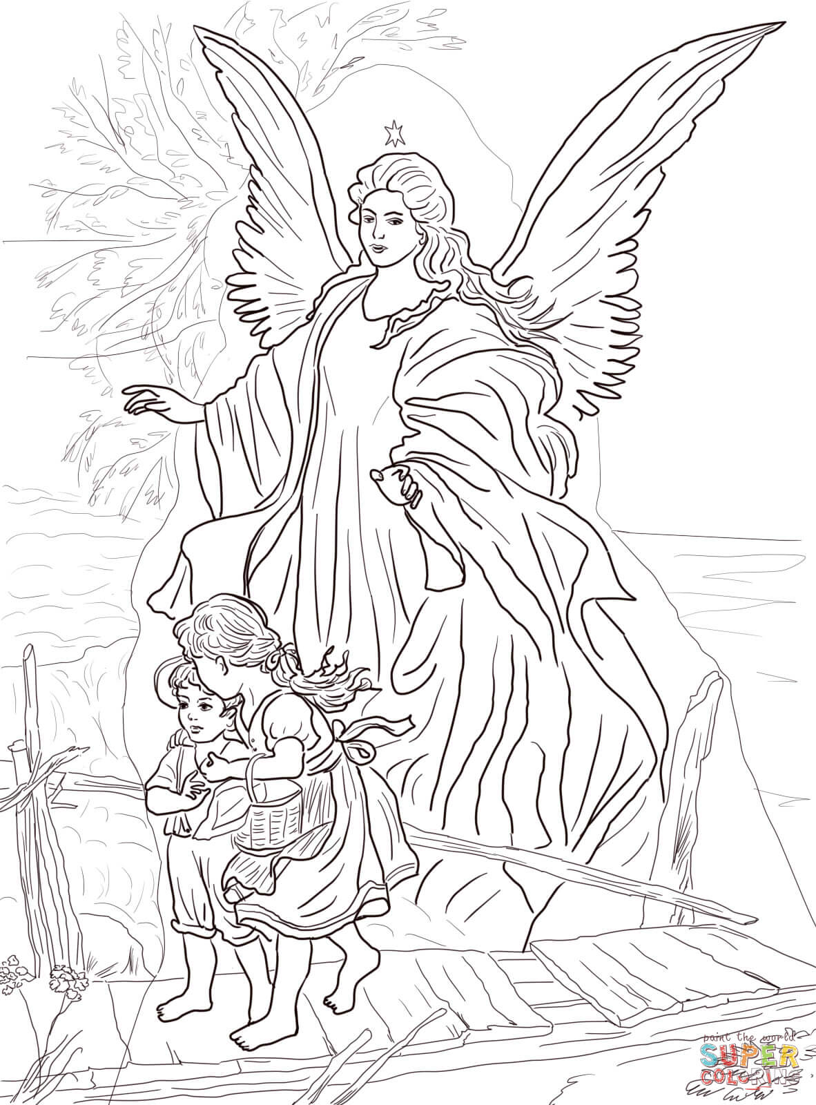 Children Are Protected By Guardian Angel Coloring Page
