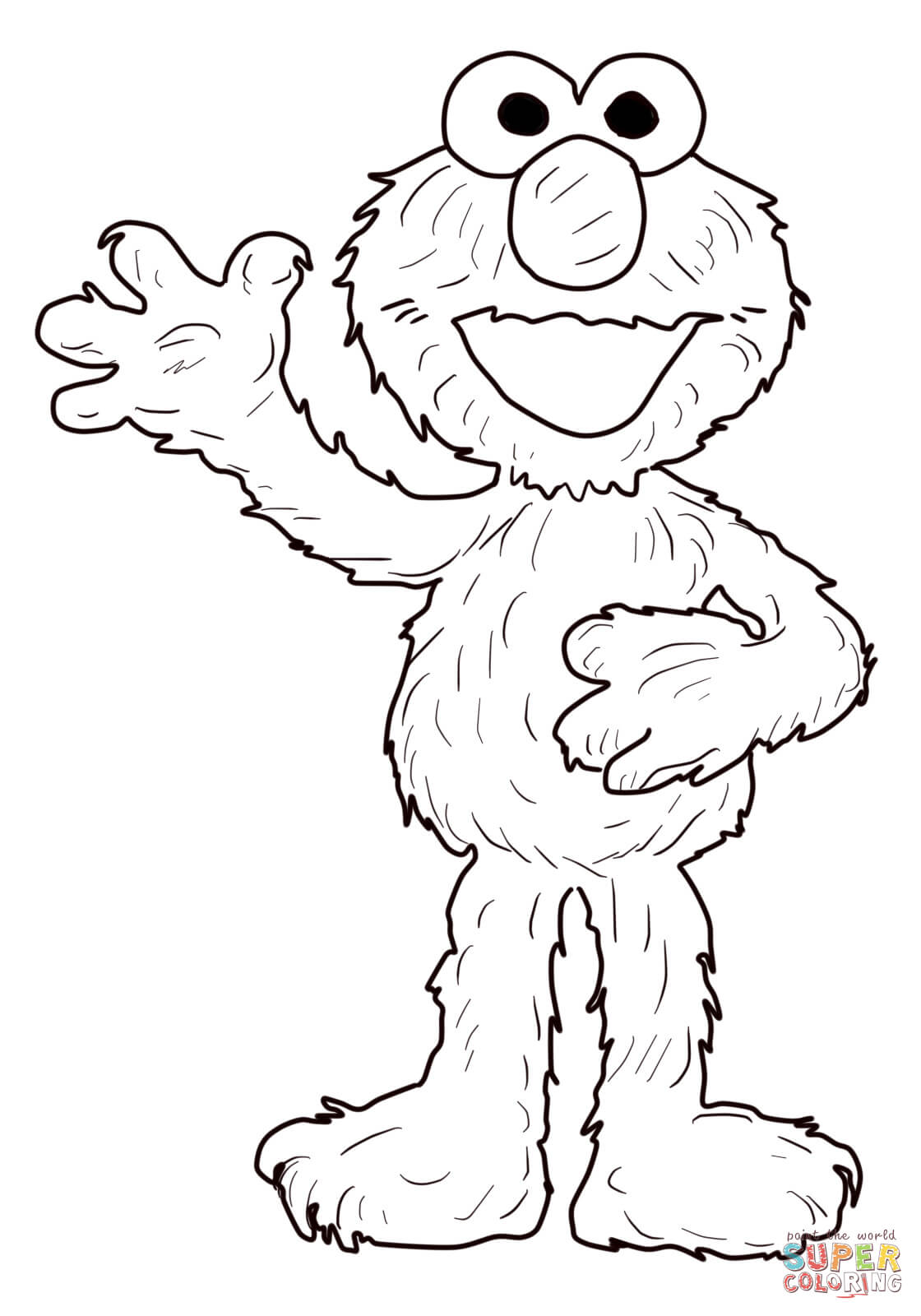 Elmo Waving Hello Coloring Page