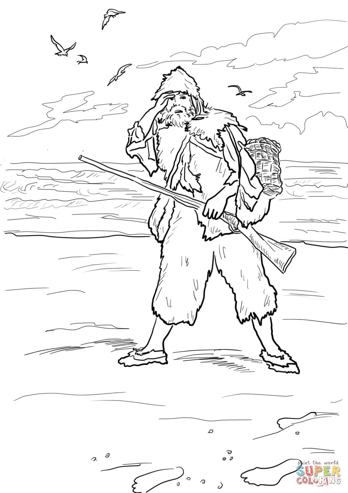 Robinson Crusoe Sees Footprints On A Sand Coloring Page
