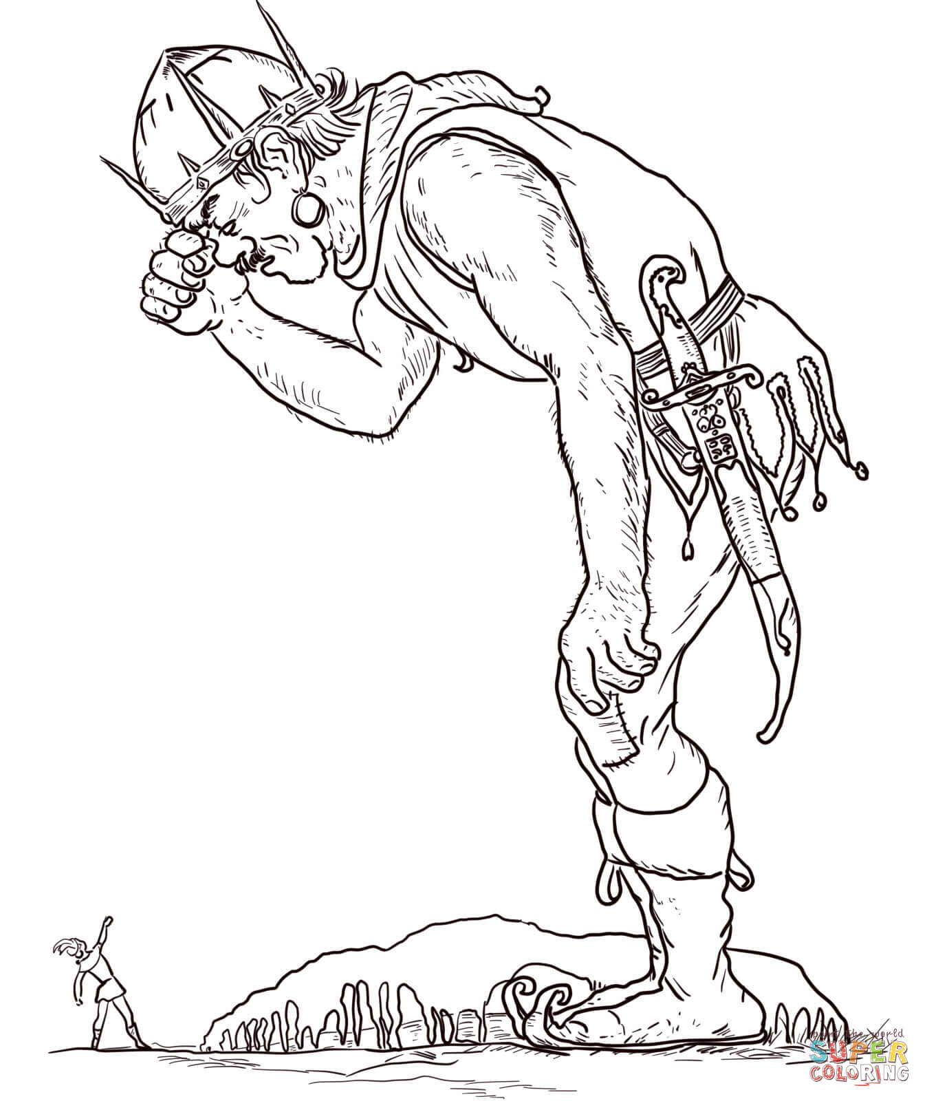 The Giant And Jack Coloring Page