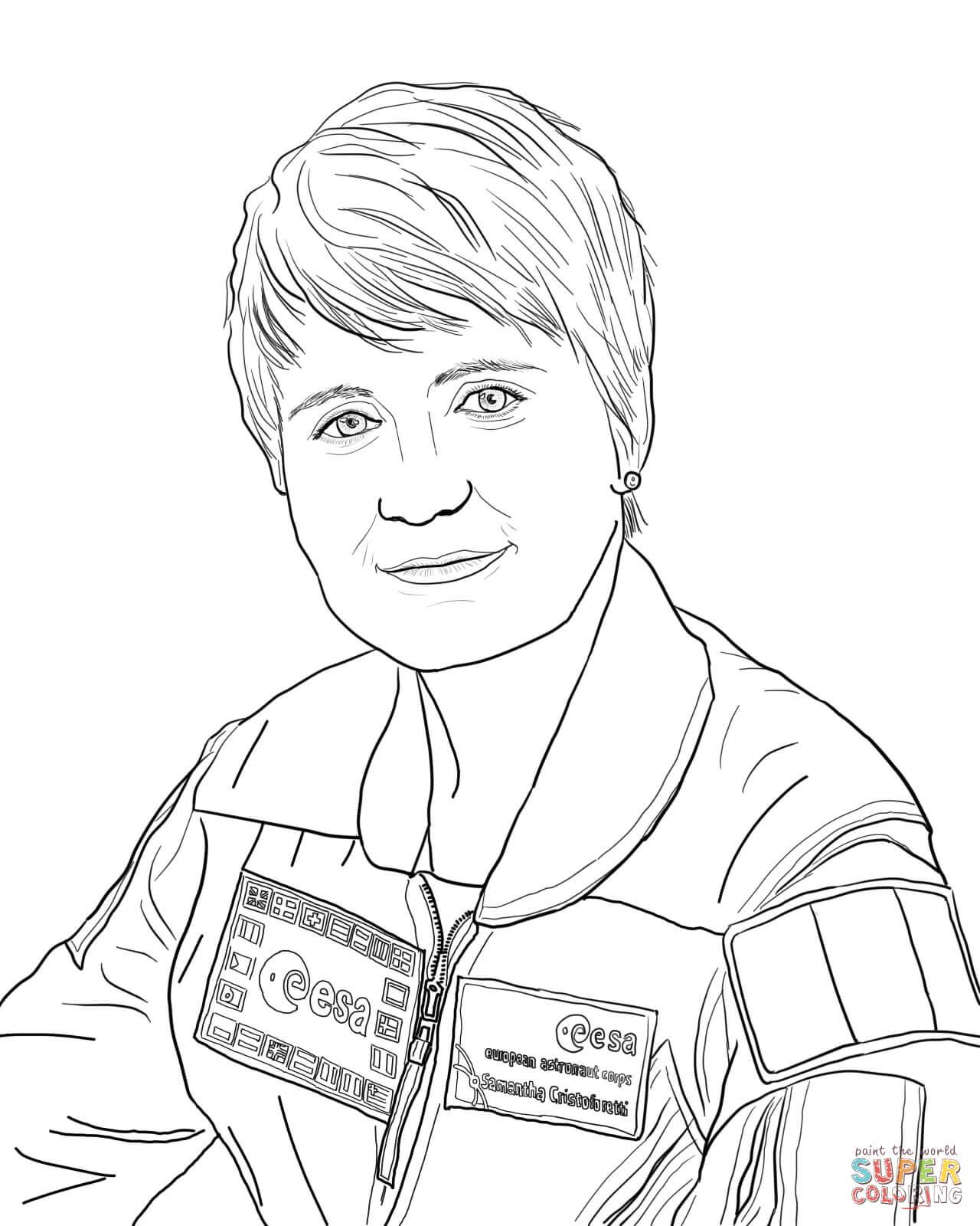 Disegno Di L Astronauta Samantha Cristoforetti Da Colorare