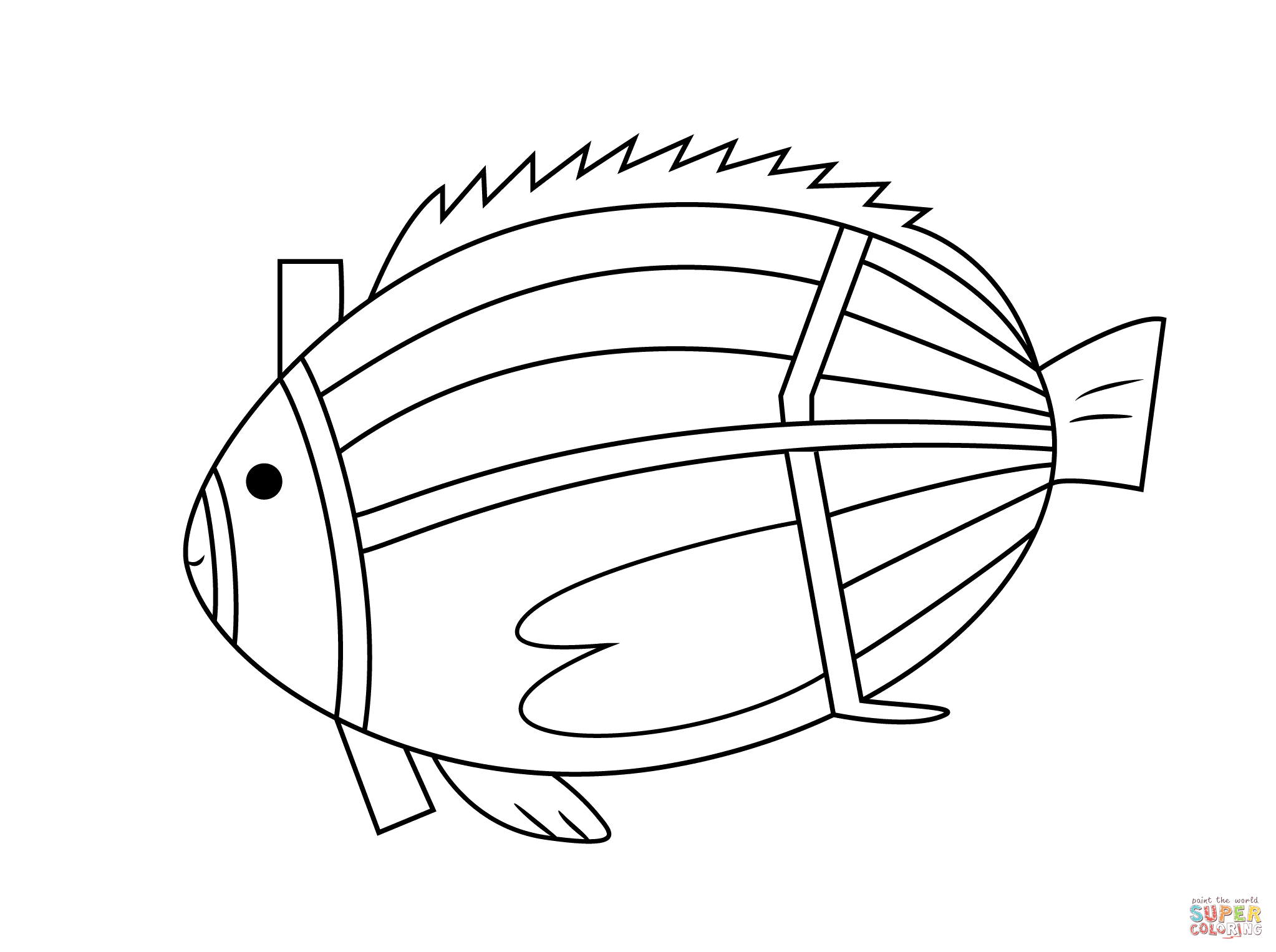 Aboriginal Painting Of Fish Coloring Page Free Printable