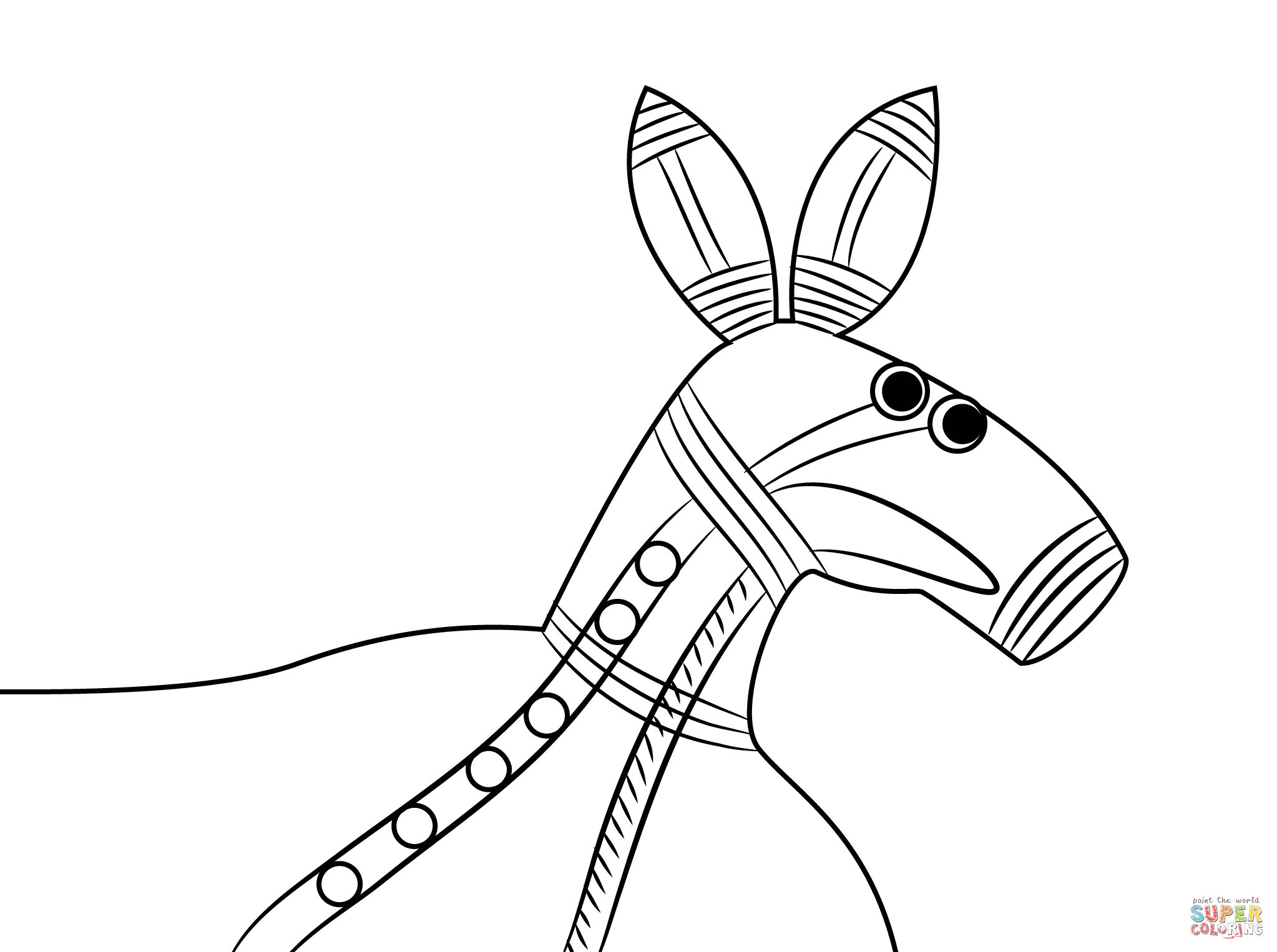 Aboriginal Painting Of Kangaroo Head Coloring Page