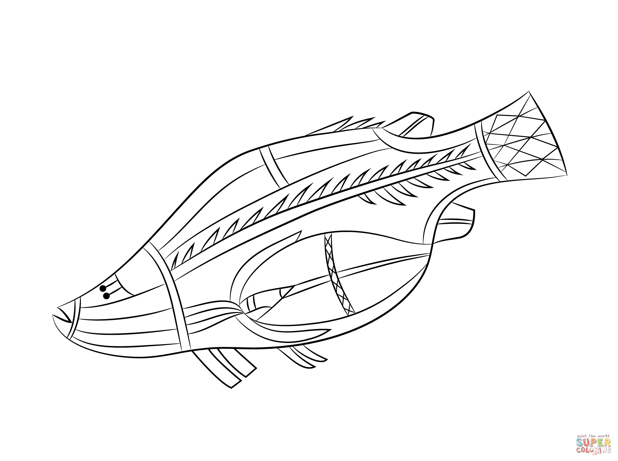Aboriginal Rock Painting Of Fish Coloring Page Free Printable