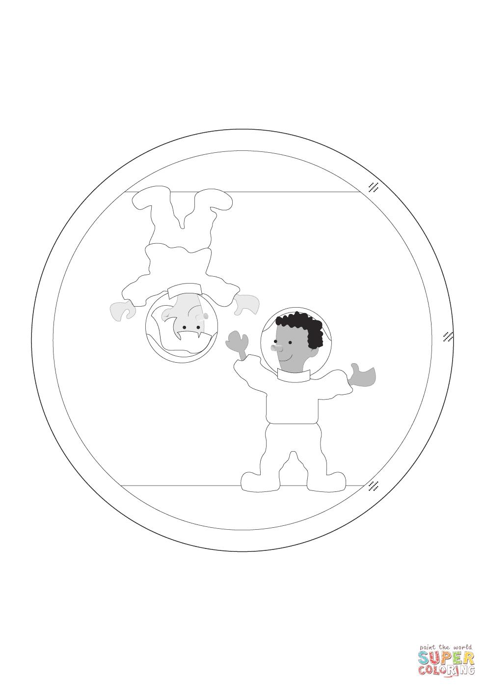 Dibujo de Astronautas en Gravedad Cero para colorear