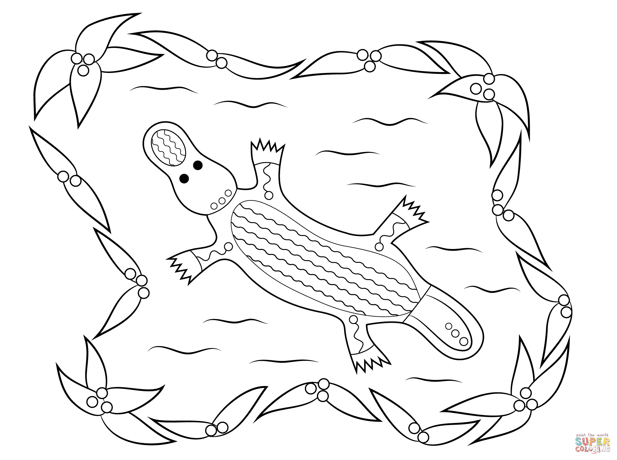 Aboriginal Kangaroo Art Coloring Page Coloring Pages