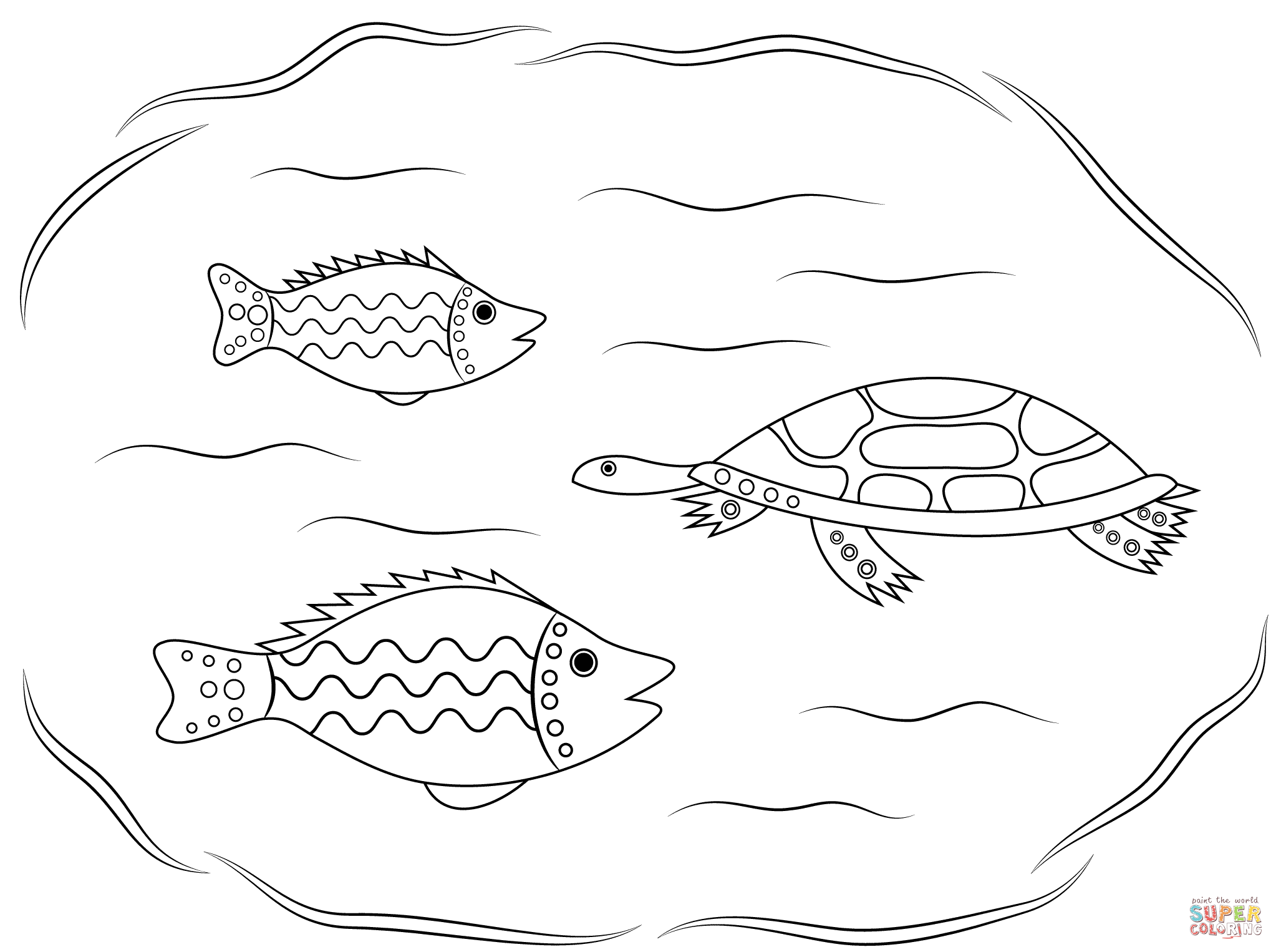 Turtle And Fishes Aboriginal Art Coloring Page