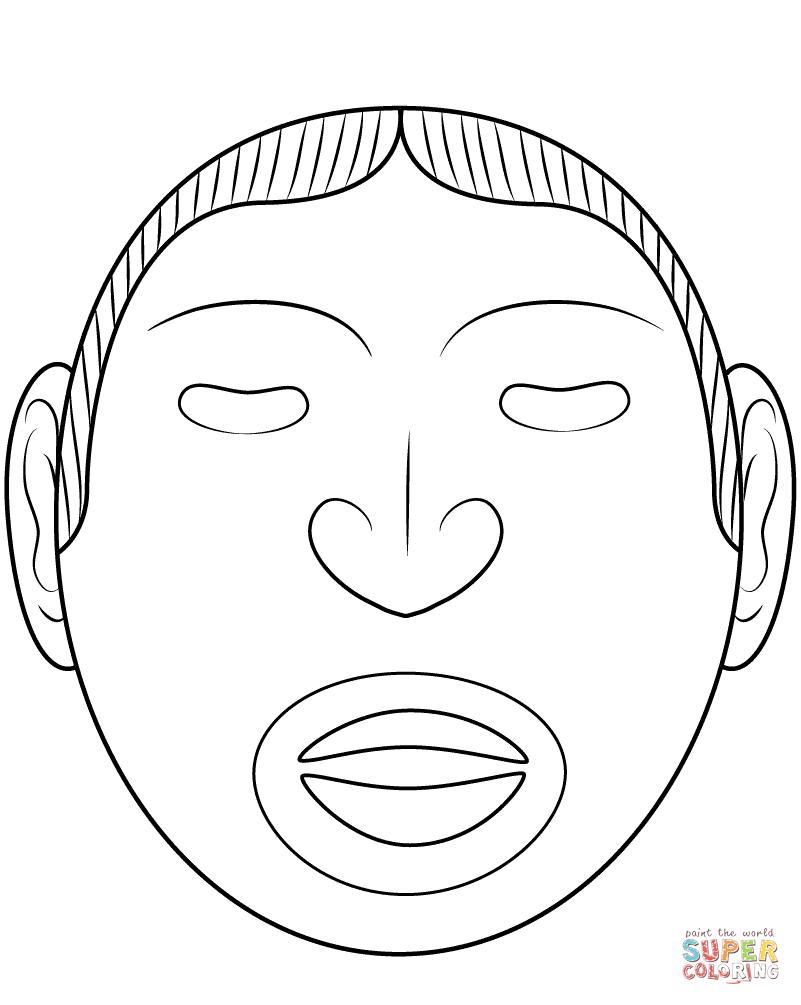 Ausmalbild: Maske des Azteken-Gott Xipe Totec
