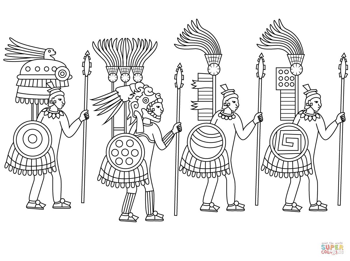 Ausmalbild Aztekische Krieger
