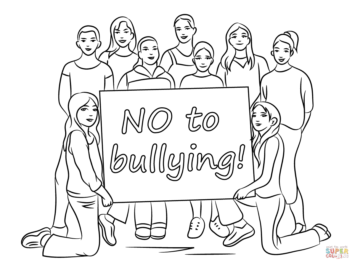 No To Bullying Coloring Page