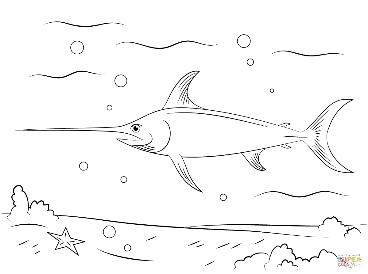 Swordfish Coloring Page Free Printable Coloring Pages