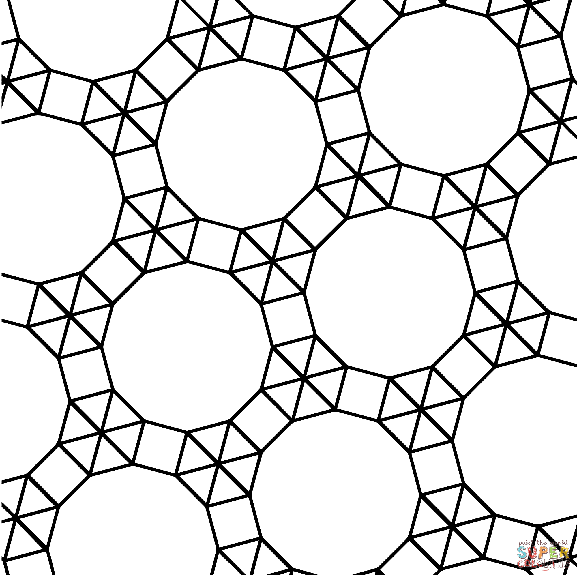 Tessellation with Dodecagon, Triangle and Square coloring