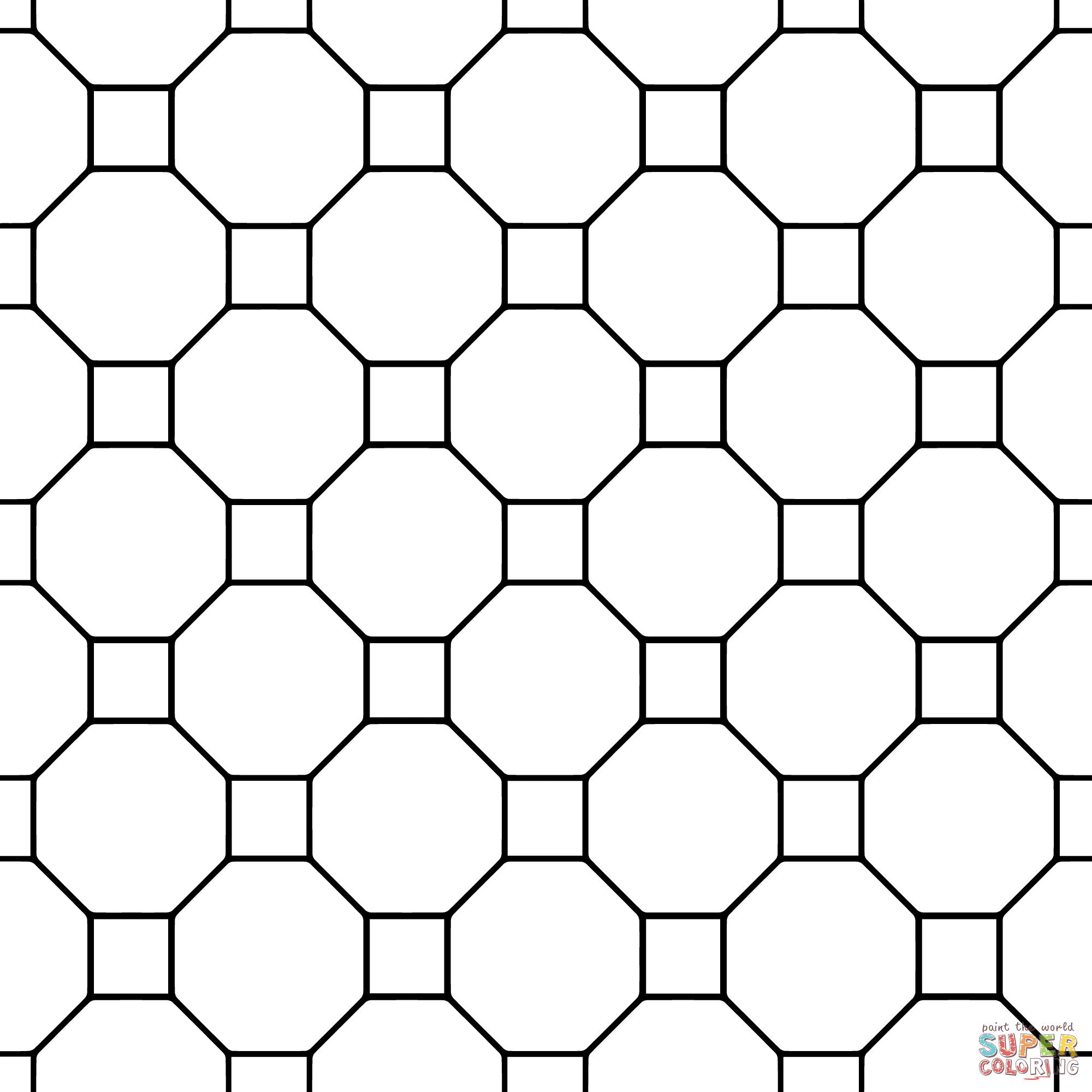 Tessellation With Octagon And Square Coloring Page