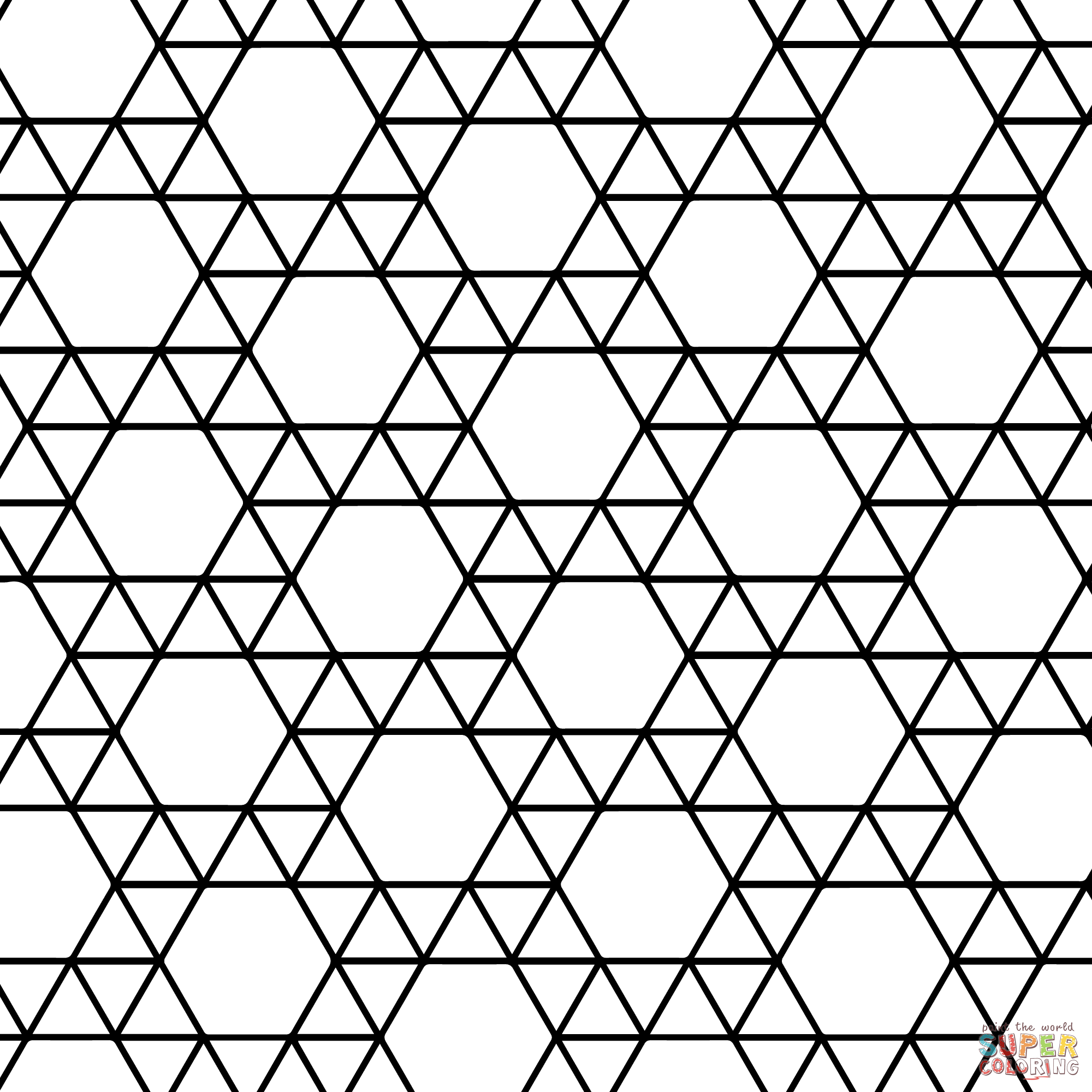 Tessellation with Triangle and Hexagon coloring page