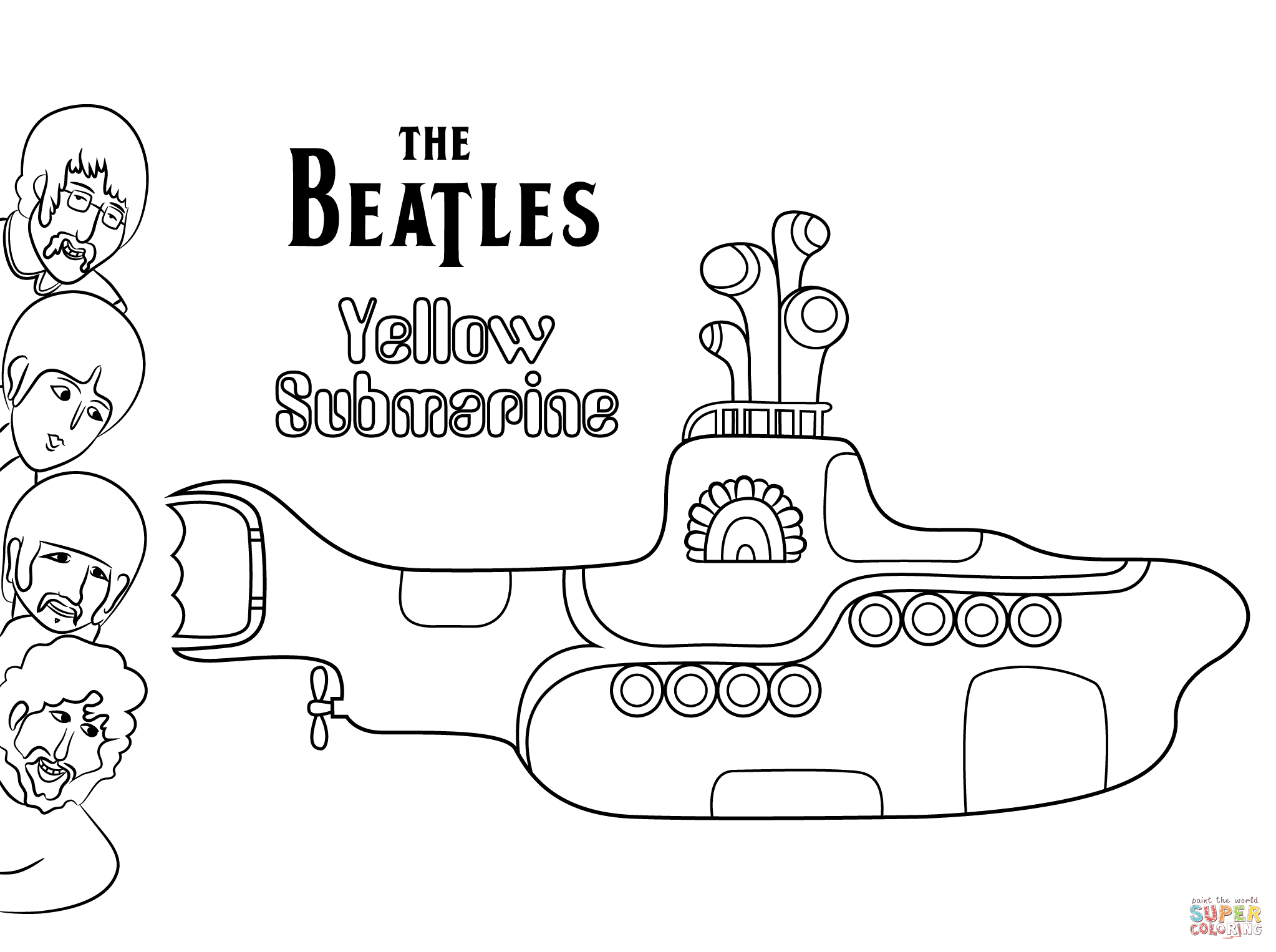 The Beatles Yellow Submarine Cover Art Coloring Page