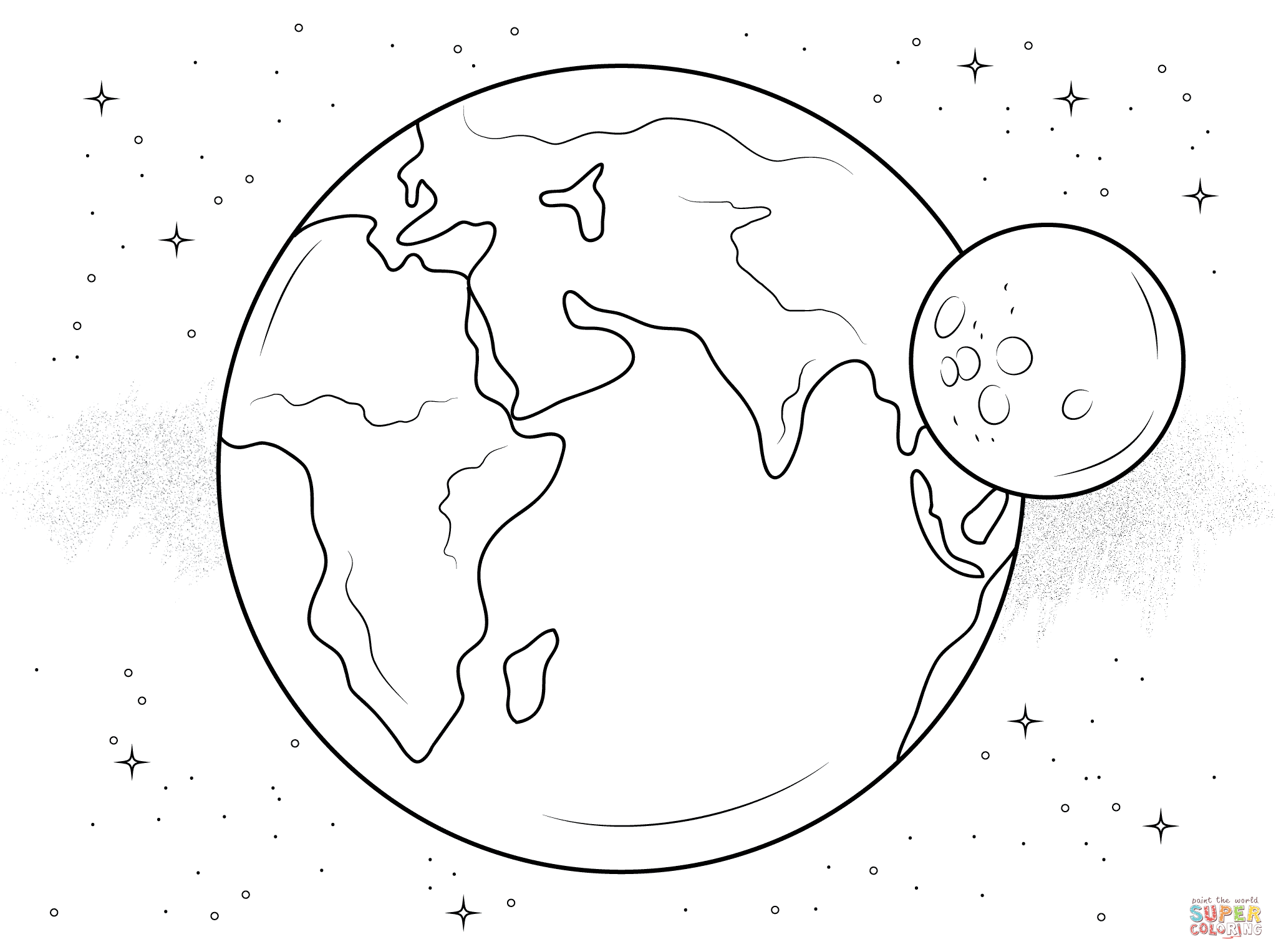 Earth And Moon Coloring Page Free Printable Coloring Pages