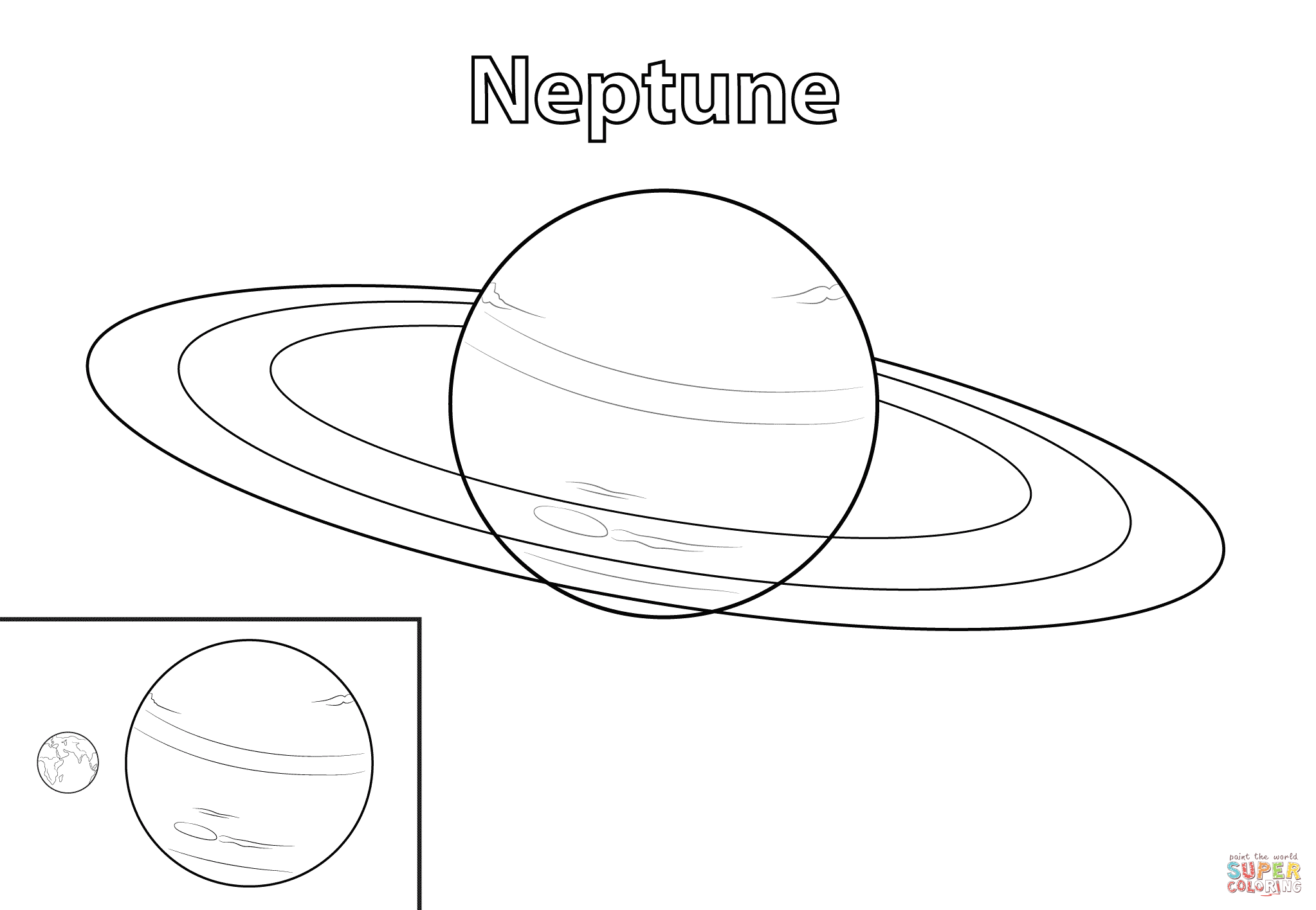Neptune Planet Coloring Page