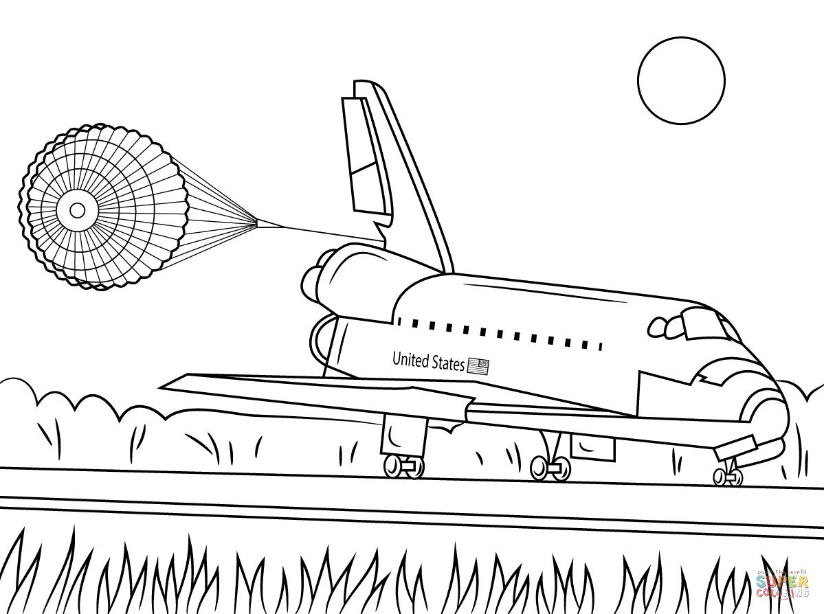 Ausmalbild Endeavour Space Shuttle bei der Landung
