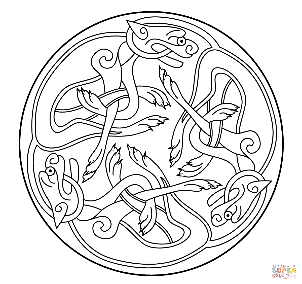 Celtic Ornament Design From Book Of Kells Coloring Page