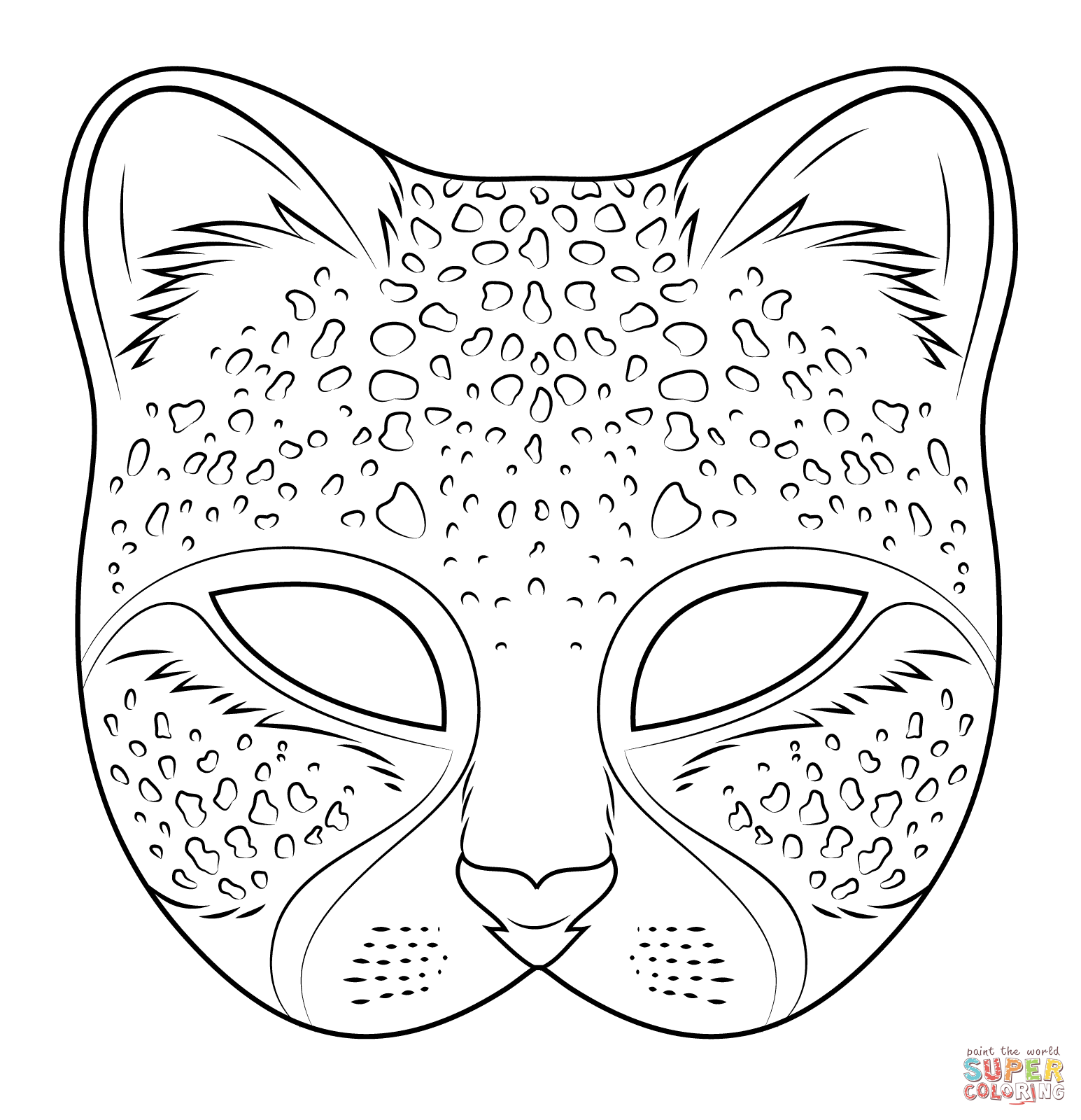 Cheetah Mask Coloring Page