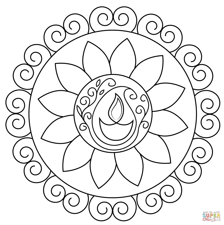 Diwali Rangoli Coloring Page