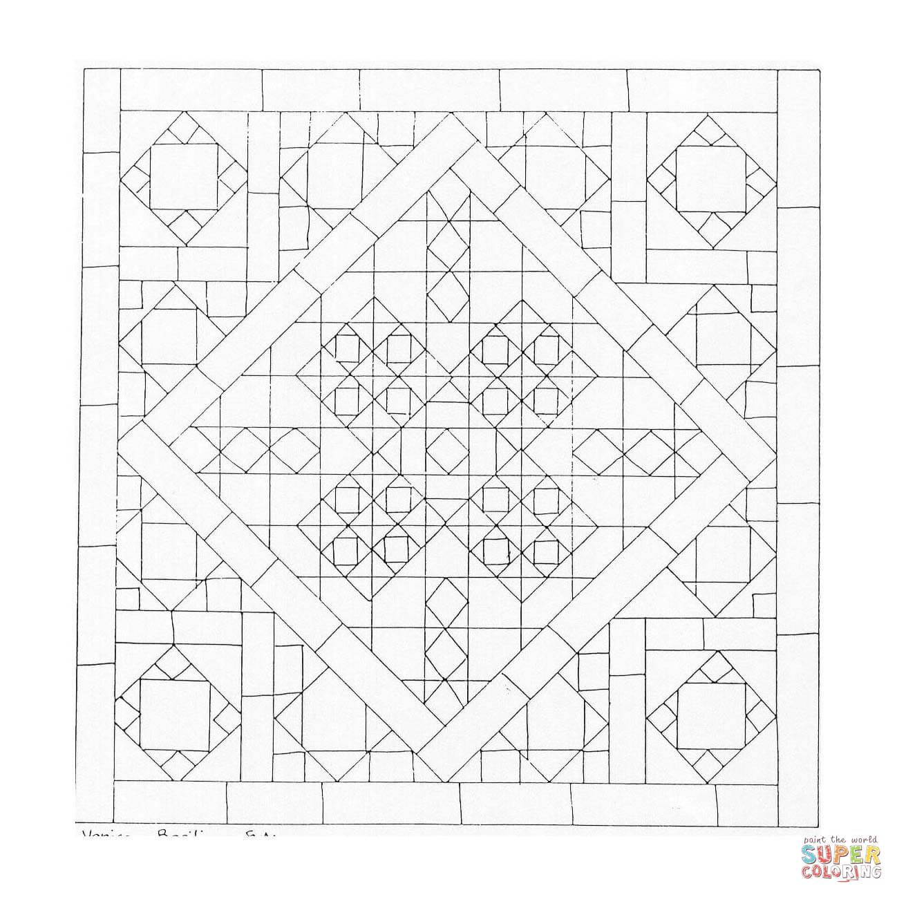 Dibujo de Mandala Geométrico Cuadrados para colorear