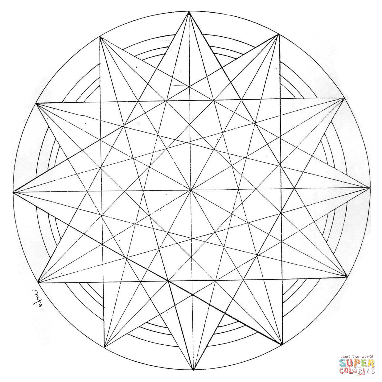 Ausmalbild Geometrisches Mandala