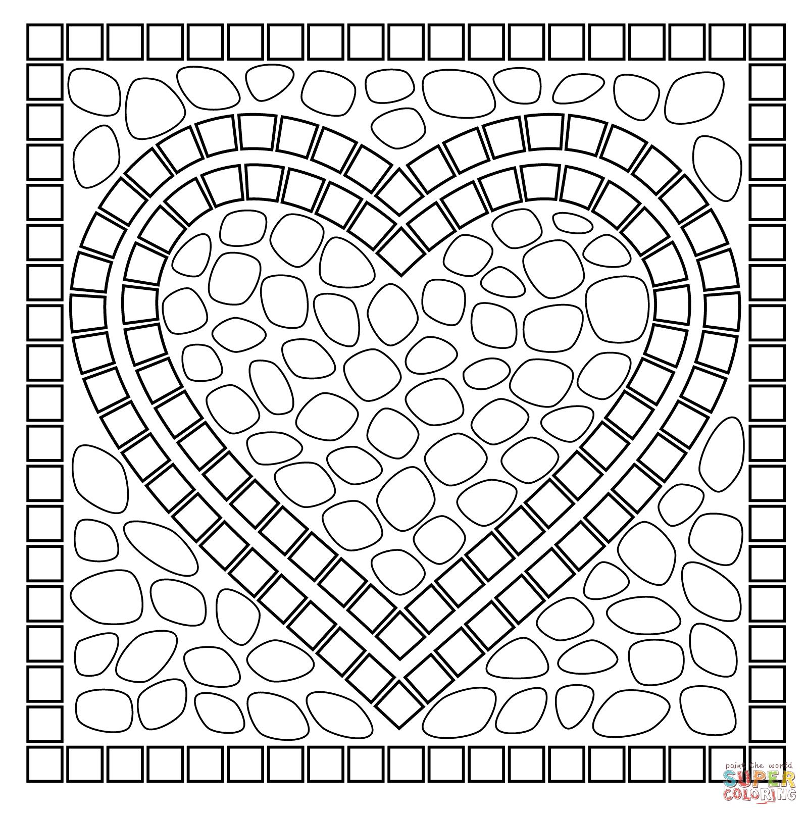 Mosaic Heart Coloring Page