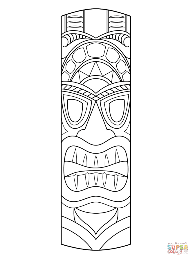 tiki mask coloring page free printable pages - Tiki Coloring Pages