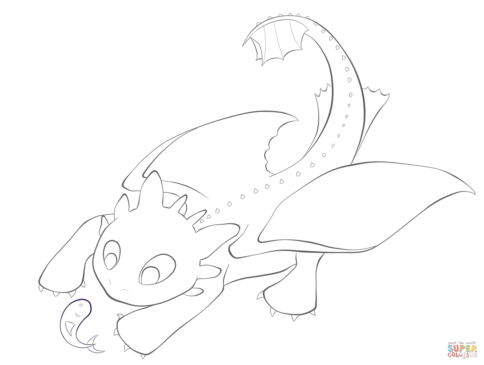 Toothless With The Fish Coloring Page Free Printable Coloring Pages