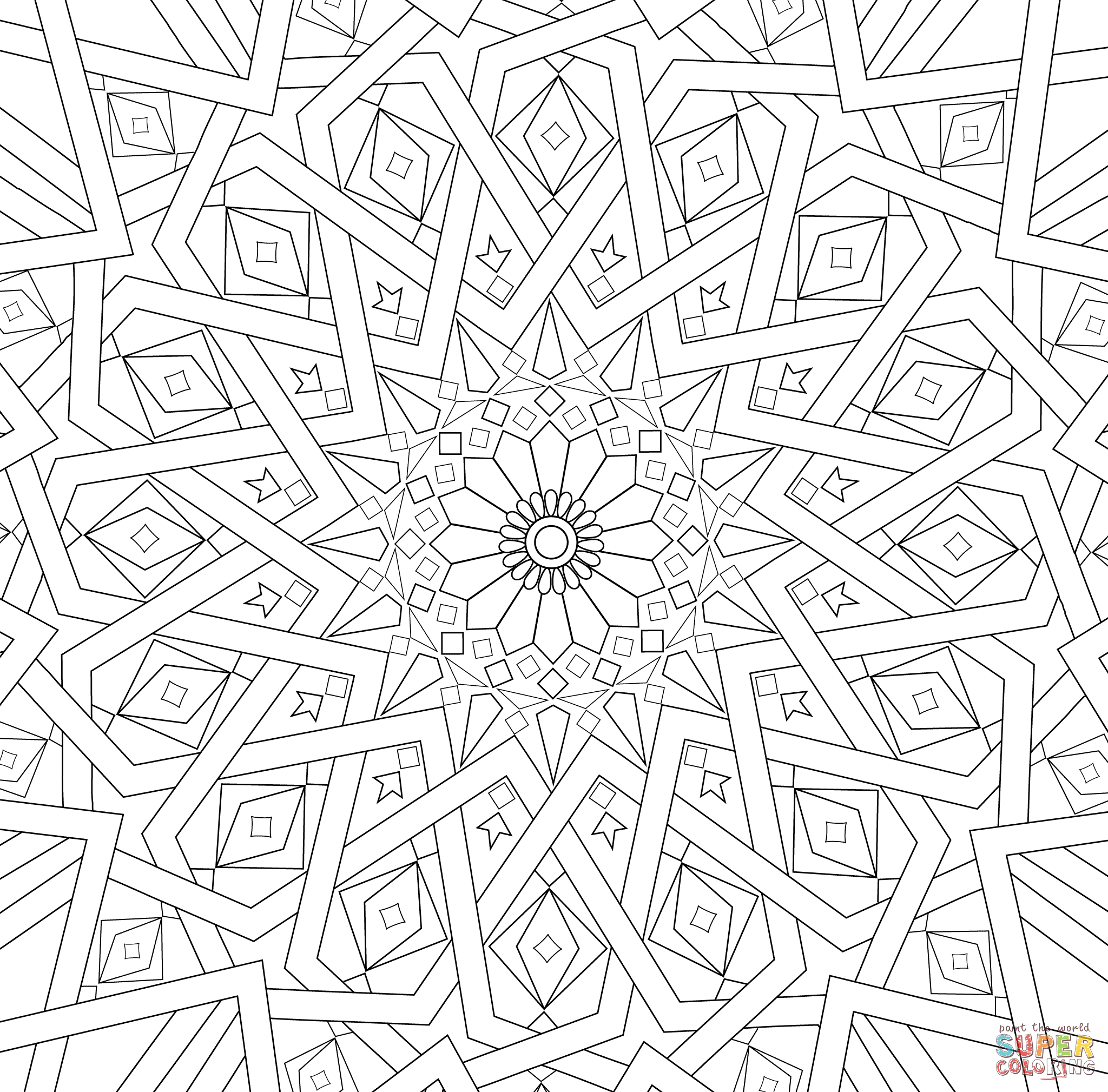 Traditional Islamic Mosaic Coloring Page