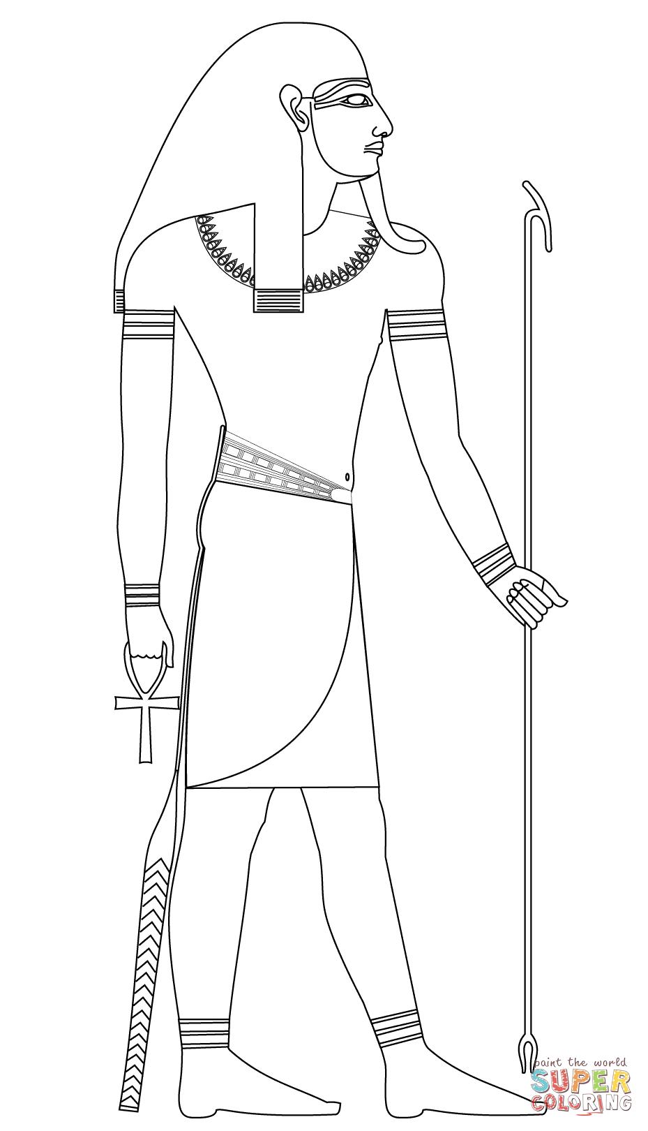 Dibujo de Atum, Antiguo Dios Egipcio de la Creación para