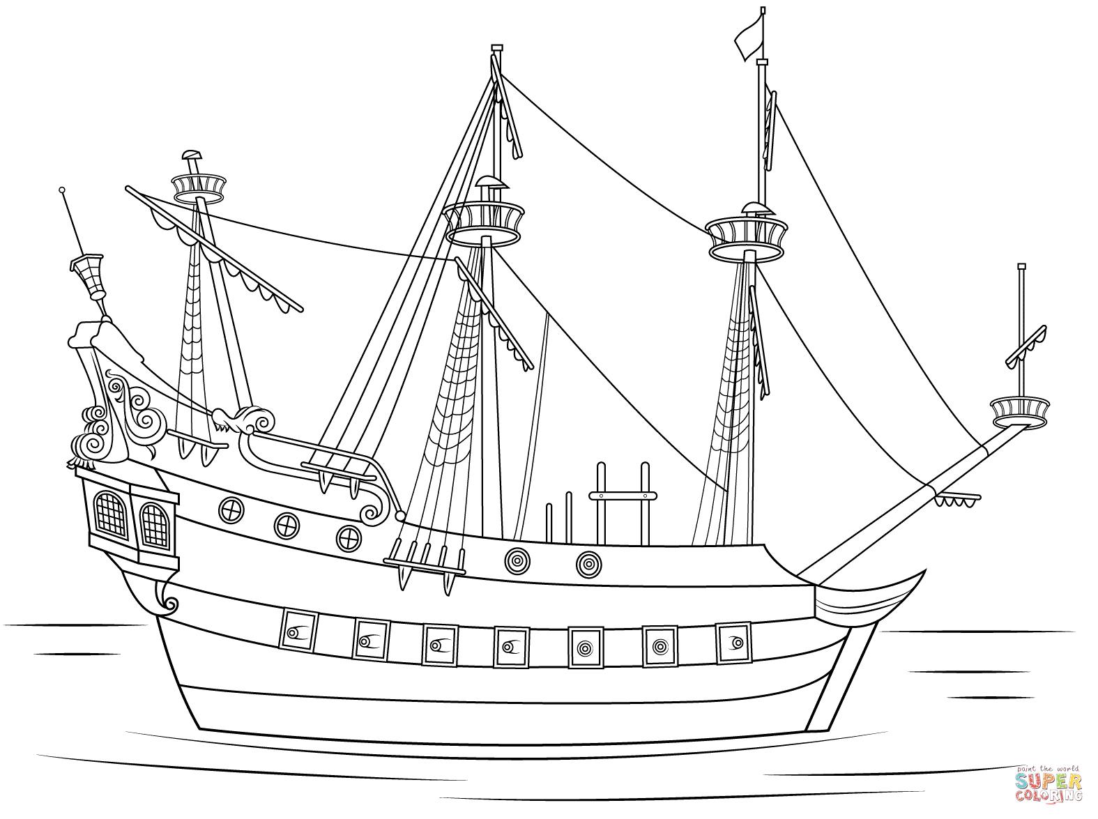 Kleurplaat Vrachtschip • Kidkleurplaat.nl