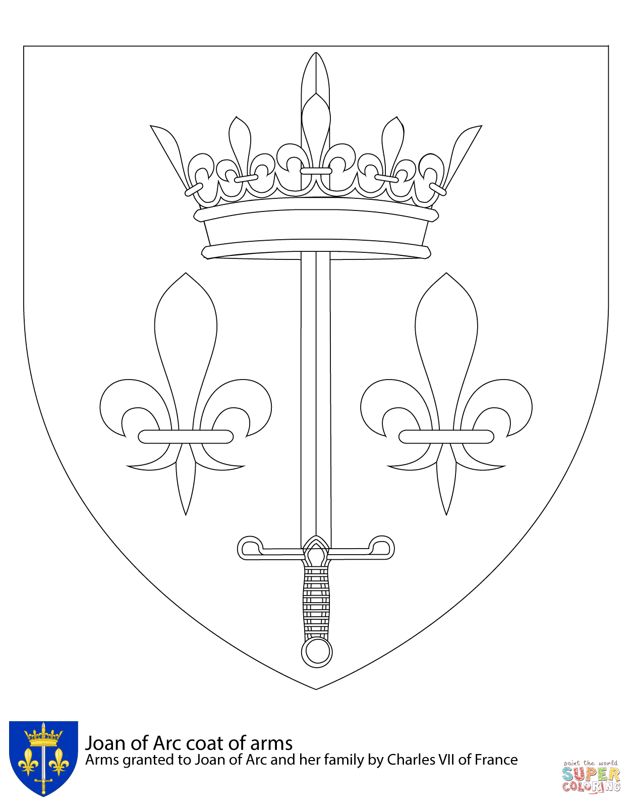 Coat Of Arms Of Joan Of Arc Coloring Page