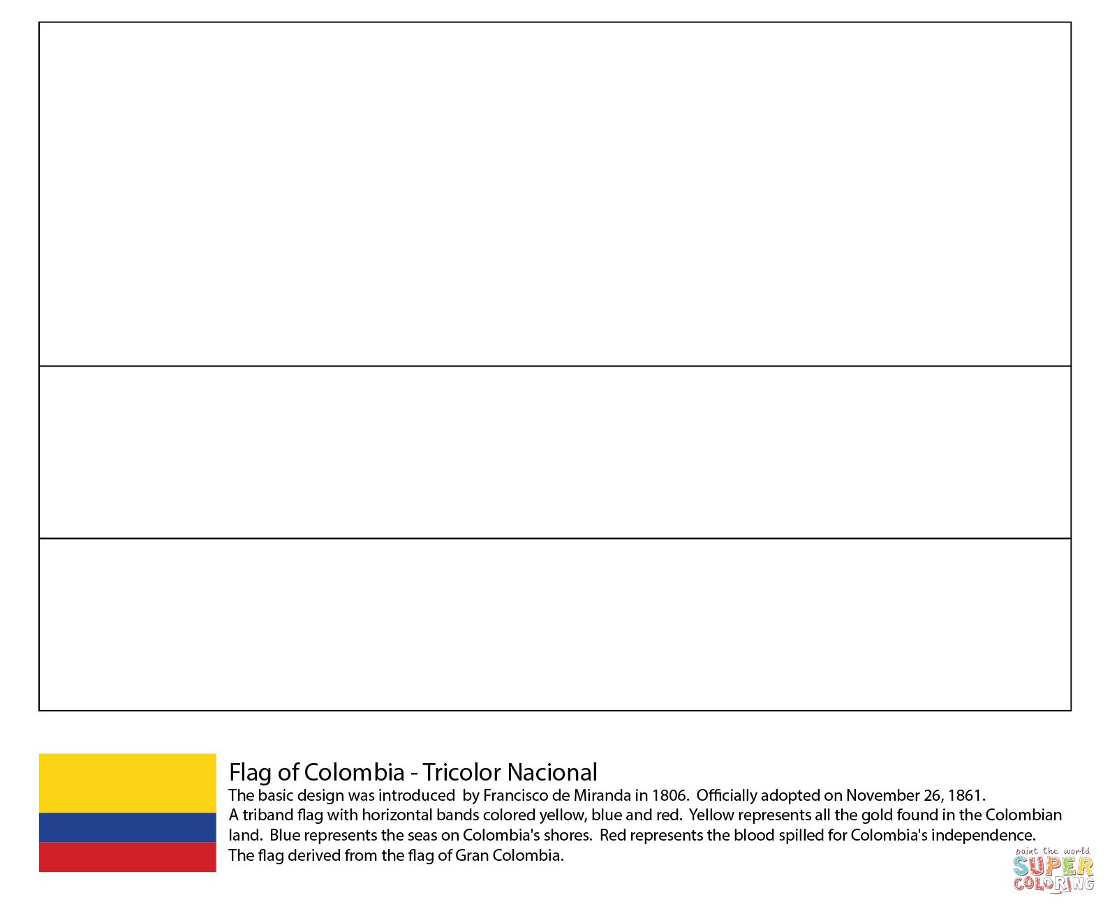 Colombia Flag Coloring Page