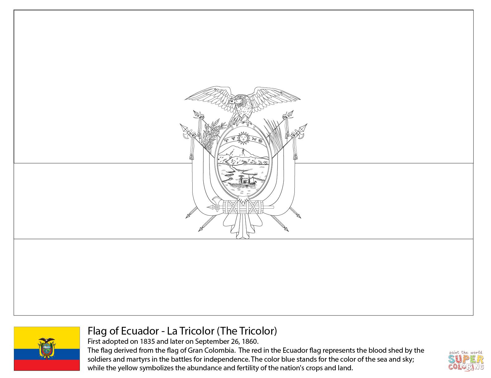Ecuador Flag Coloring Page