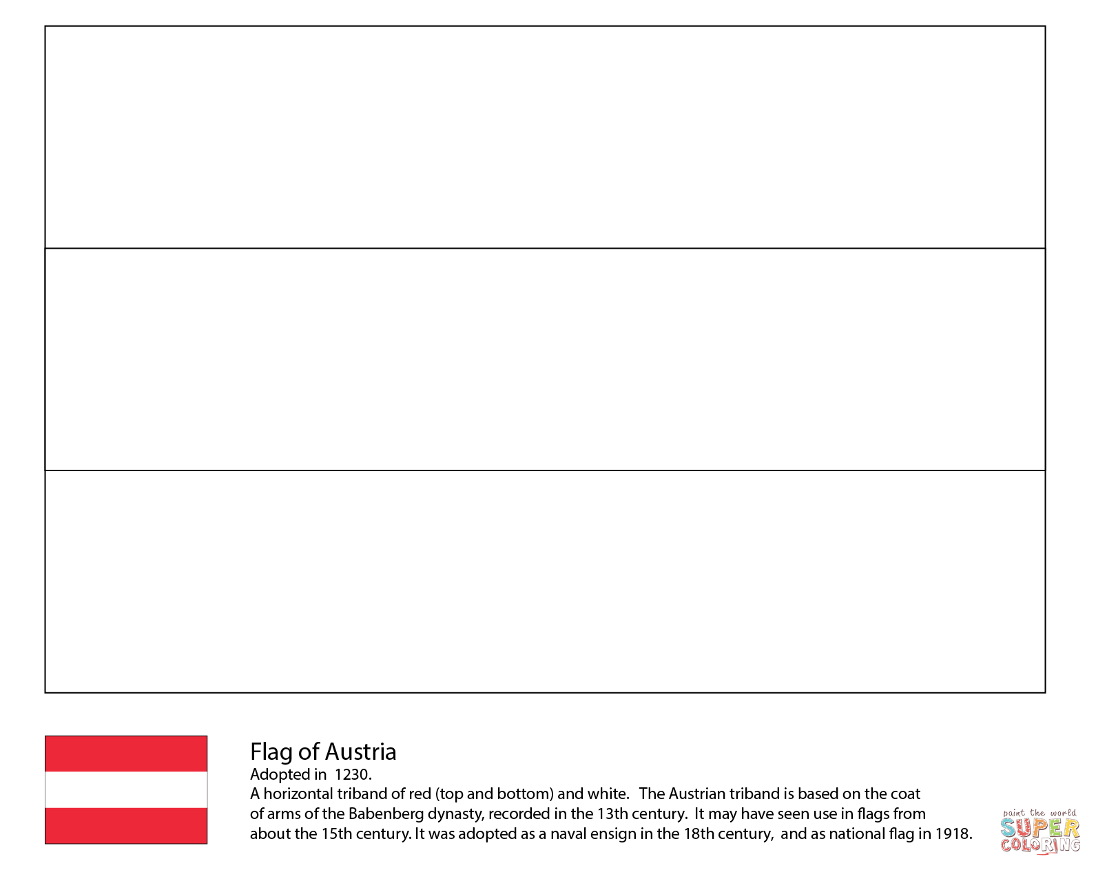 Flag Of Austria Coloring Page