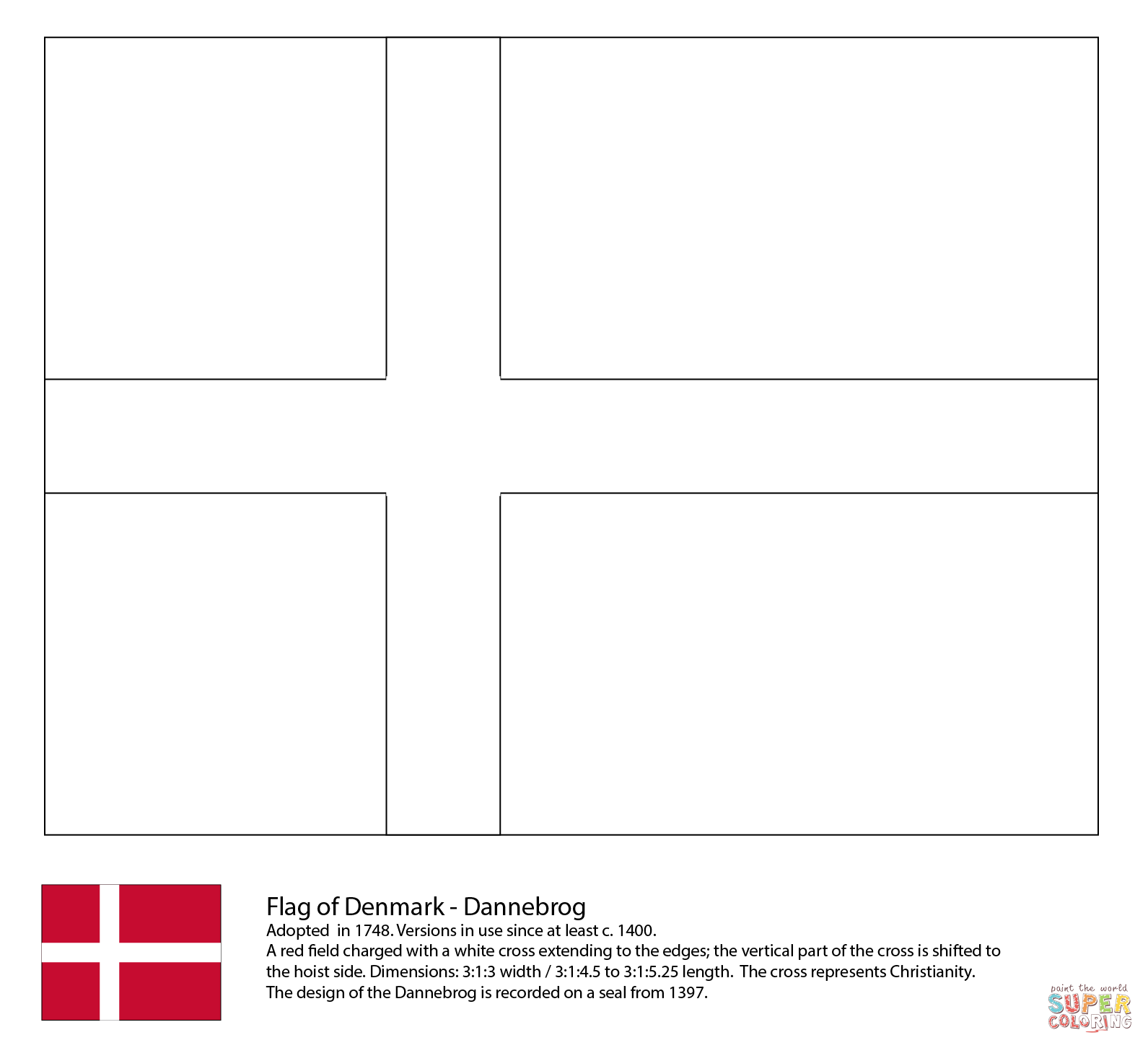 Flag Of Denmark Coloring Page