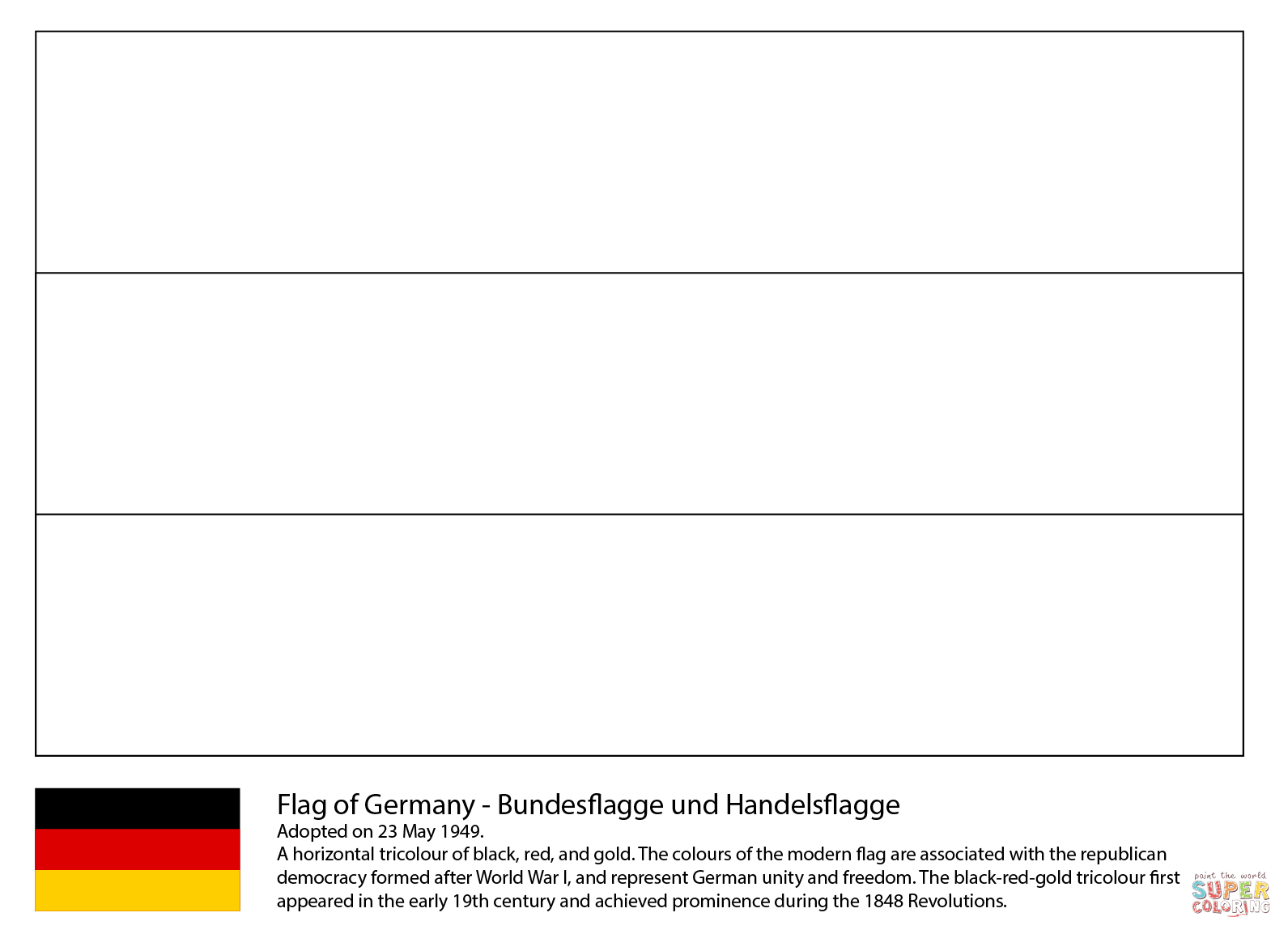 Flag Of Germany Coloring Page